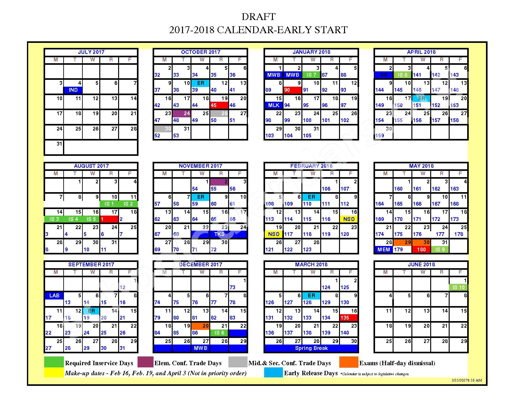 2017 - 2018 School Calendar – Greenwood School District 50 – page 1