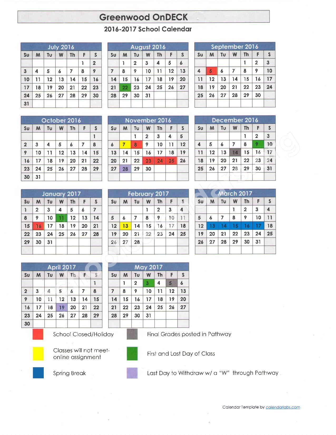 2016 - 2017 School Calendar – Greenwood School District 50 – page 1