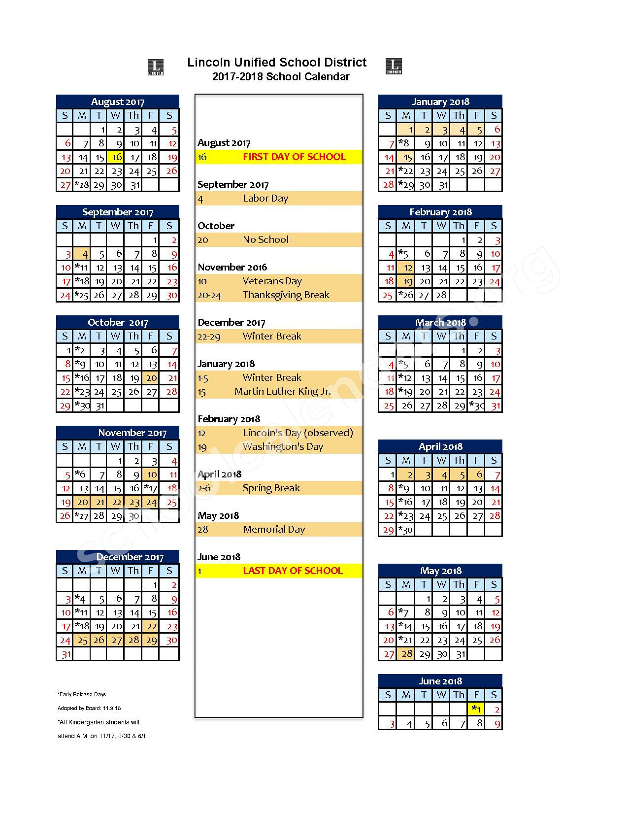 2017 - 2018 School Calendar – Lincoln Unified School District – page 1