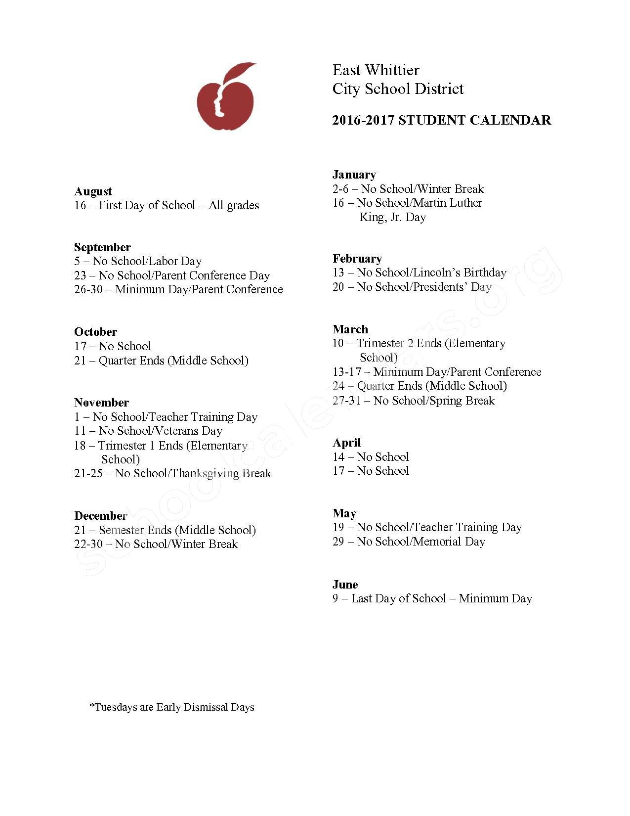 2016 - 2017  District Calendar – Scott Avenue Elementary School – page 1
