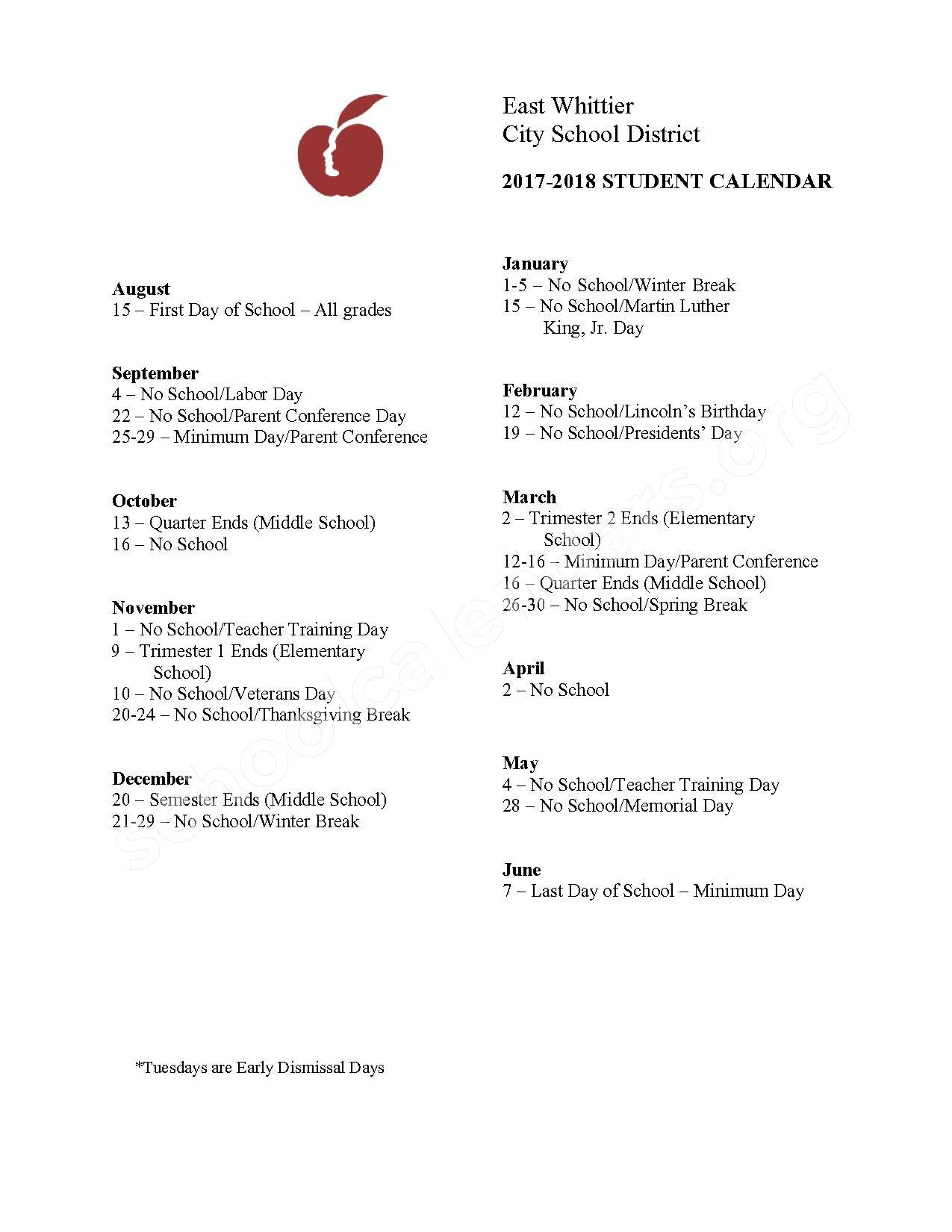 2016 - 2017  District Calendar – Scott Avenue Elementary School – page 2