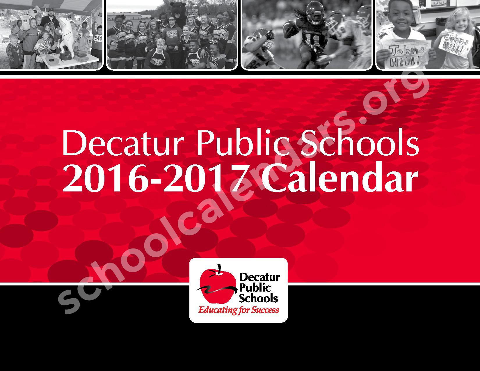 2016 - 2017 District Calendar – Michael E Baum Elementary School – page 1