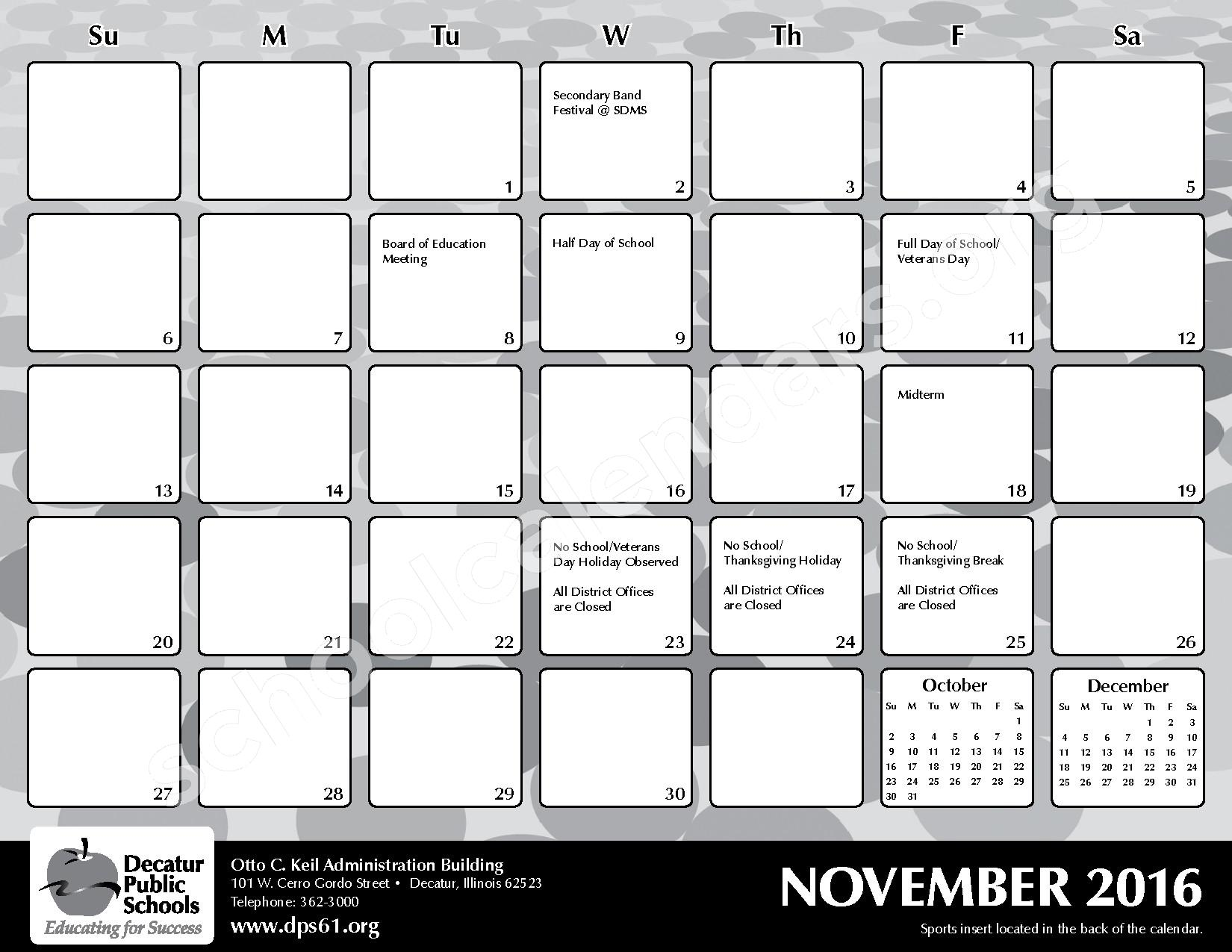 2016 - 2017 District Calendar – Michael E Baum Elementary School – page 11