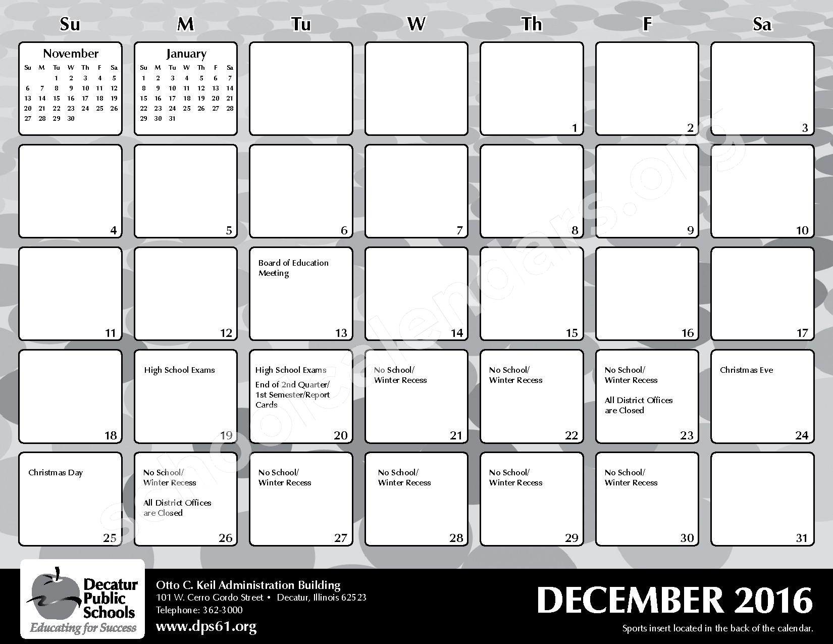 2016 - 2017 District Calendar – Michael E Baum Elementary School – page 13