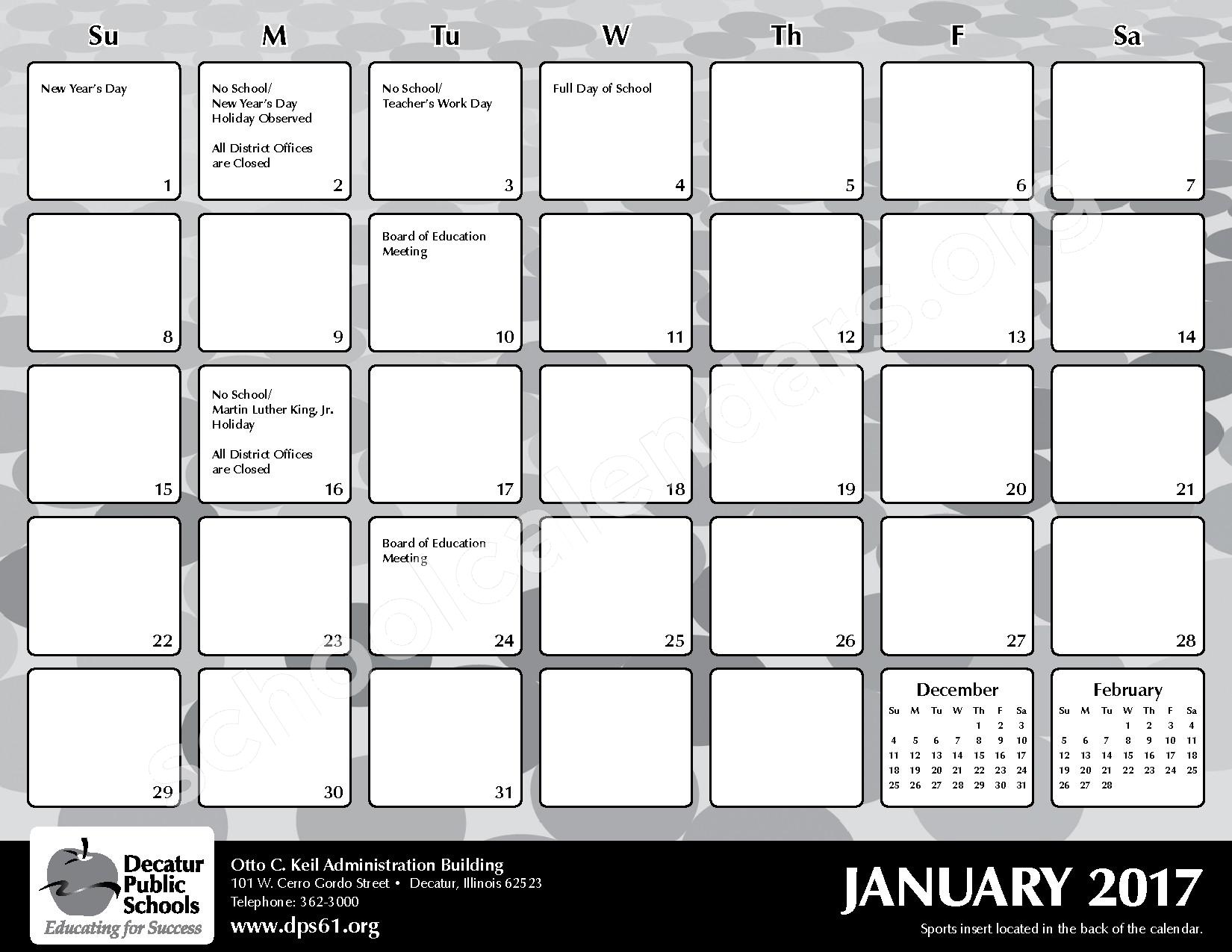 2016 - 2017 District Calendar – Michael E Baum Elementary School – page 15