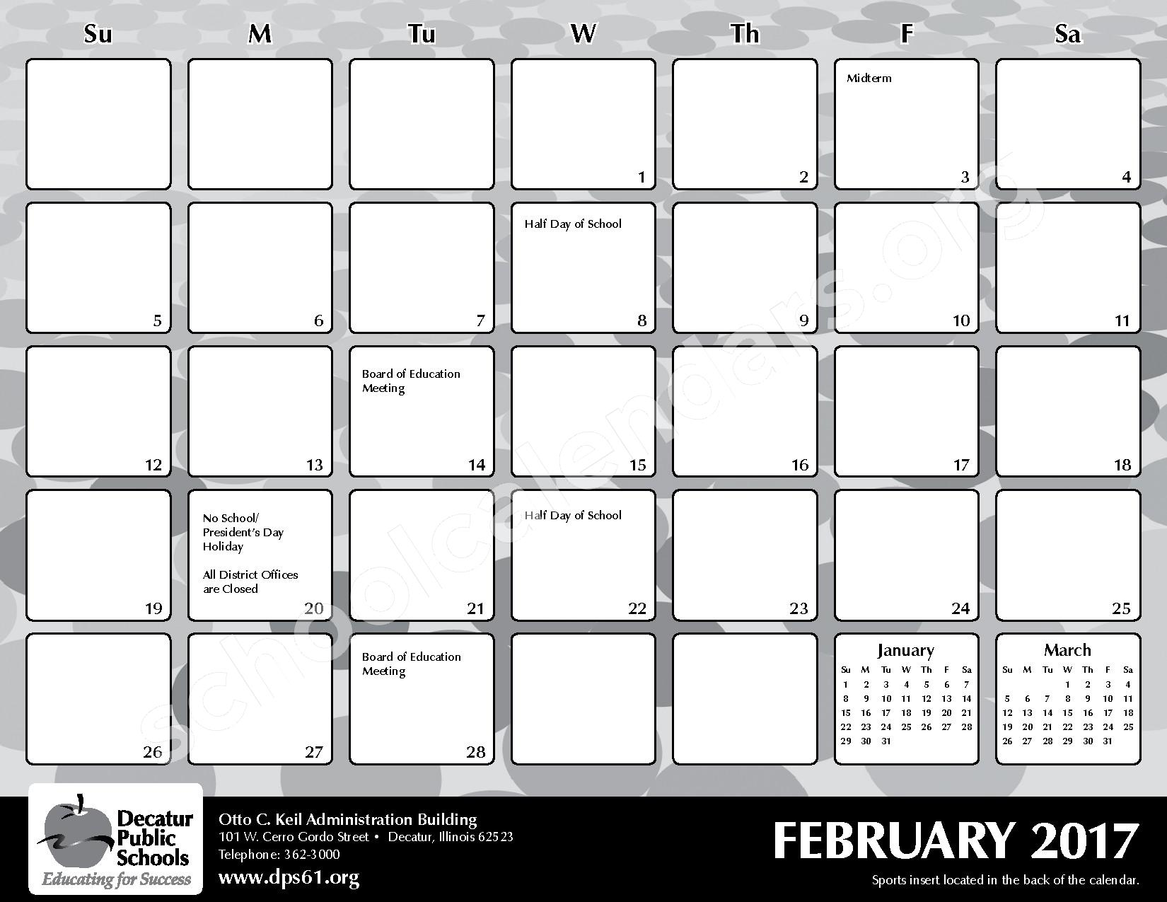 2016 - 2017 District Calendar – Michael E Baum Elementary School – page 17