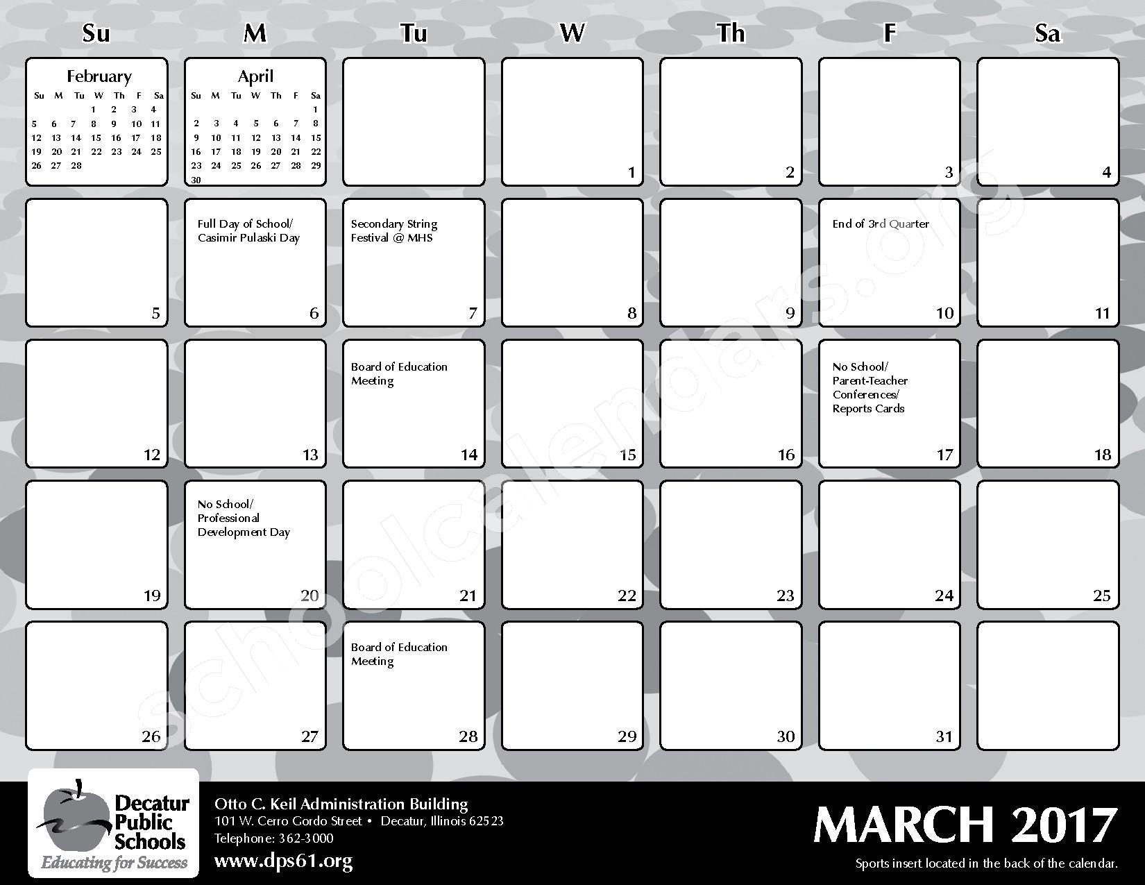 2016 - 2017 District Calendar – Michael E Baum Elementary School – page 19