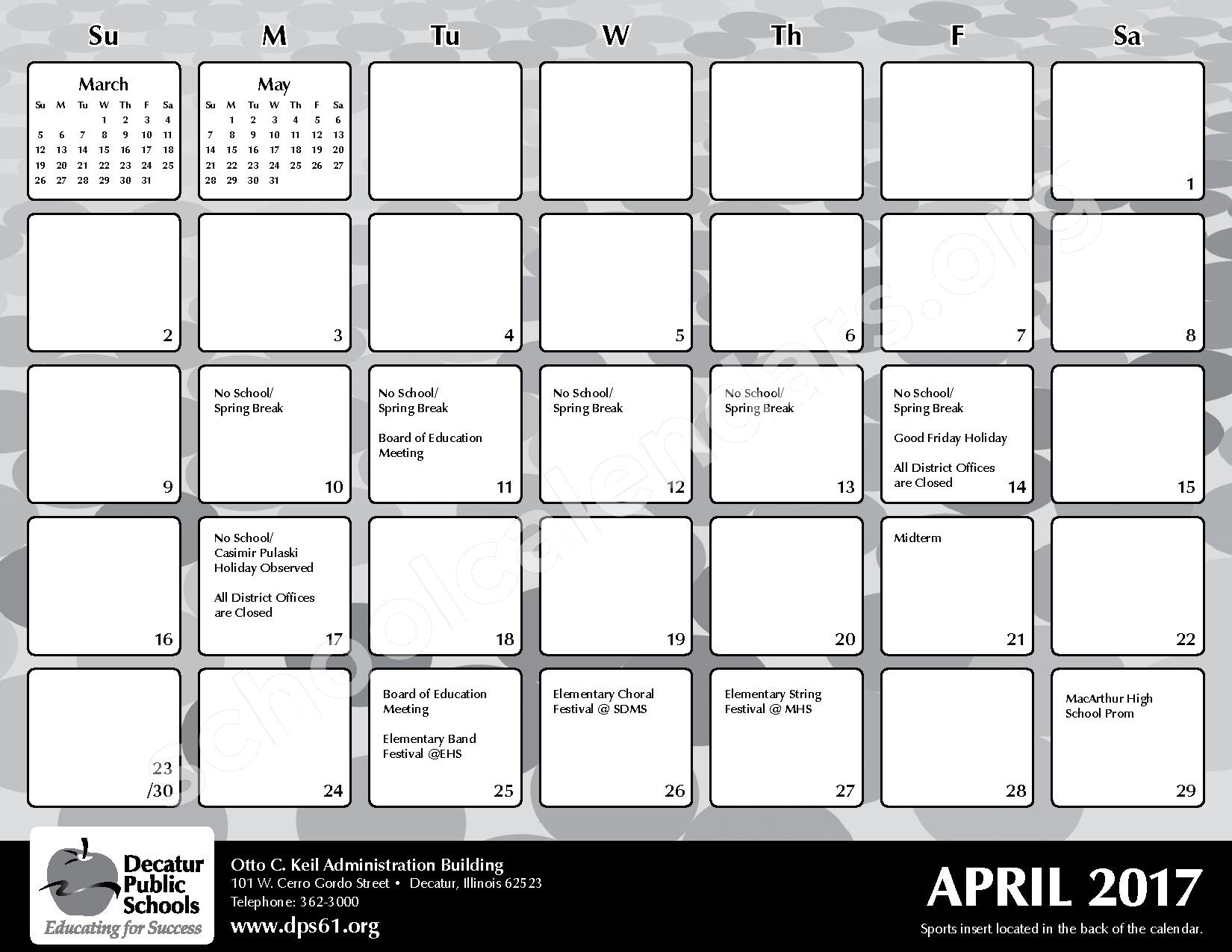 2016 - 2017 District Calendar – Michael E Baum Elementary School – page 21