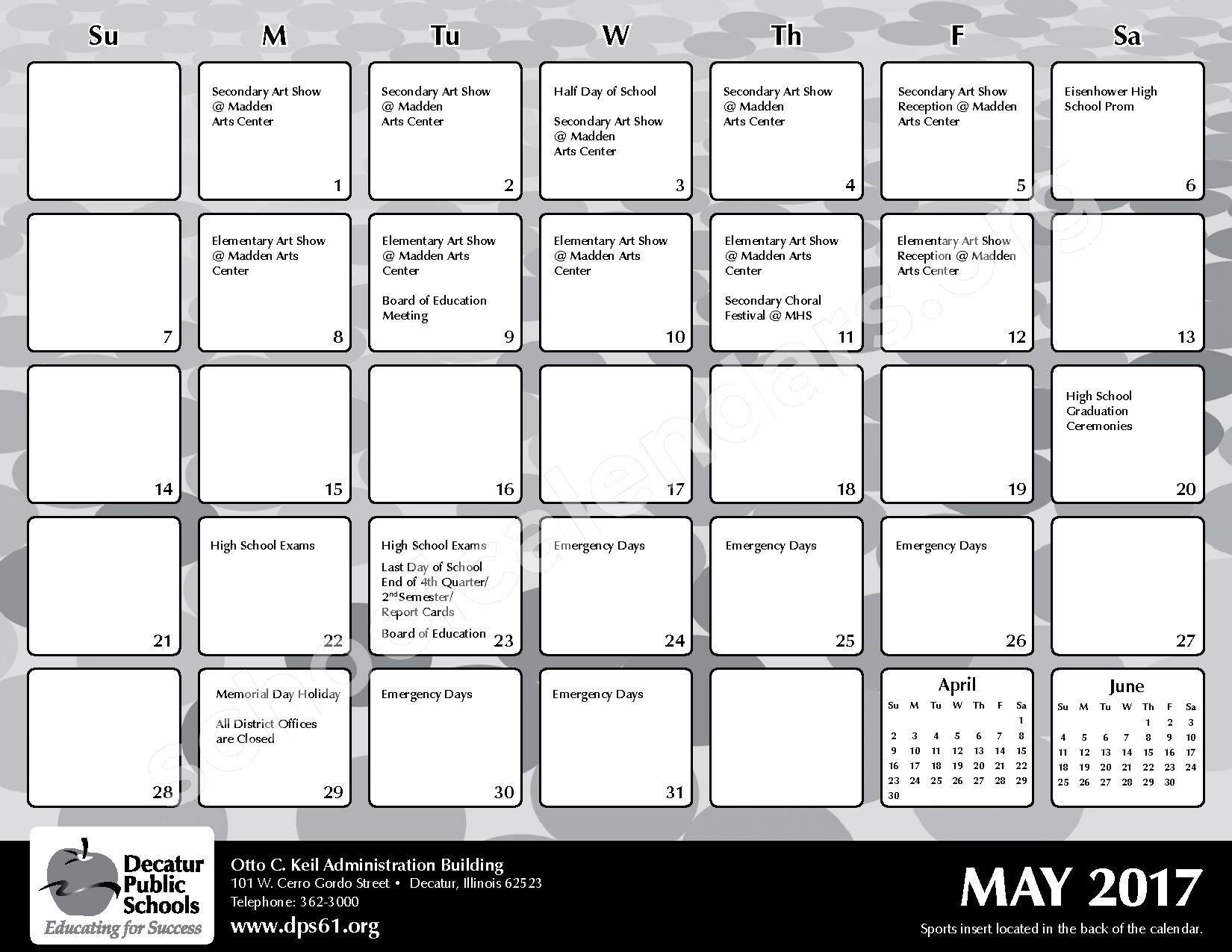 2016 - 2017 District Calendar – Michael E Baum Elementary School – page 23