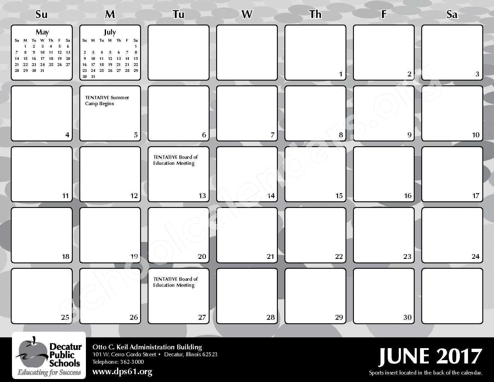 2016 - 2017 District Calendar – Michael E Baum Elementary School – page 25