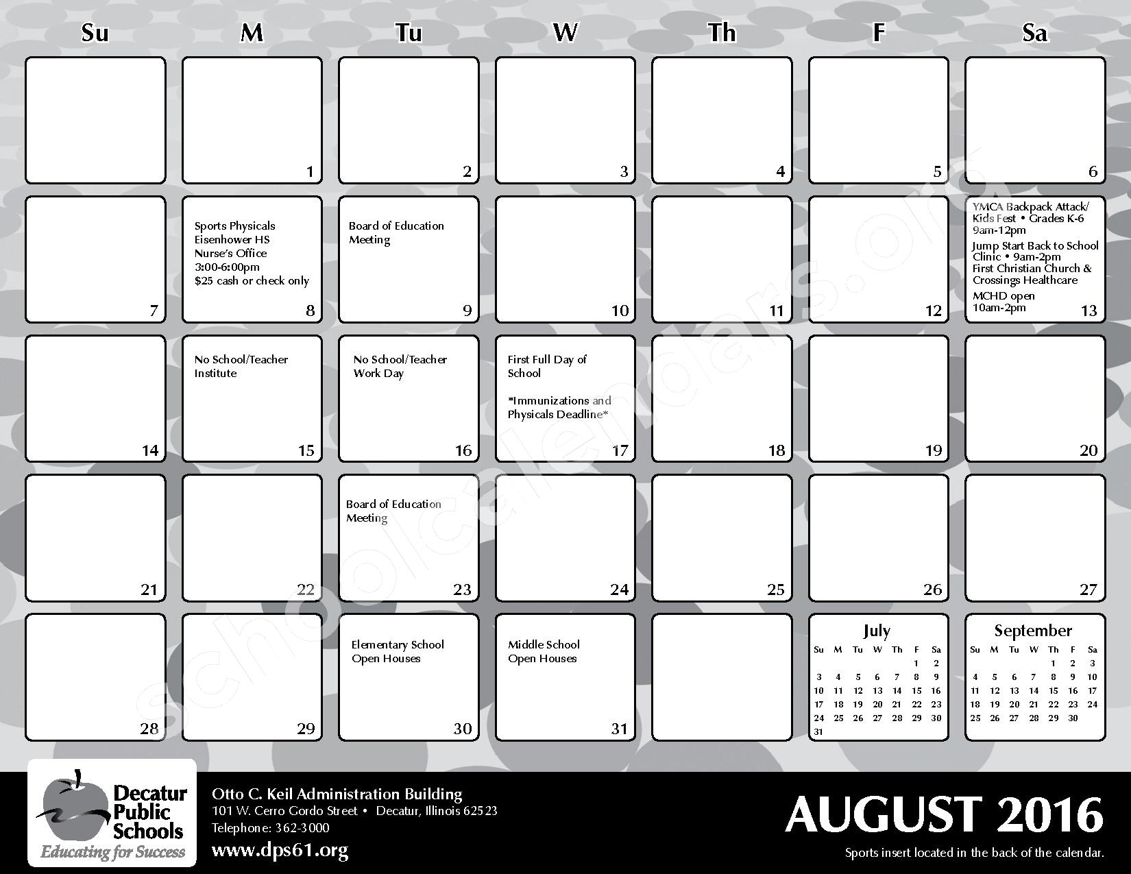 2016 - 2017 District Calendar – Michael E Baum Elementary School – page 5