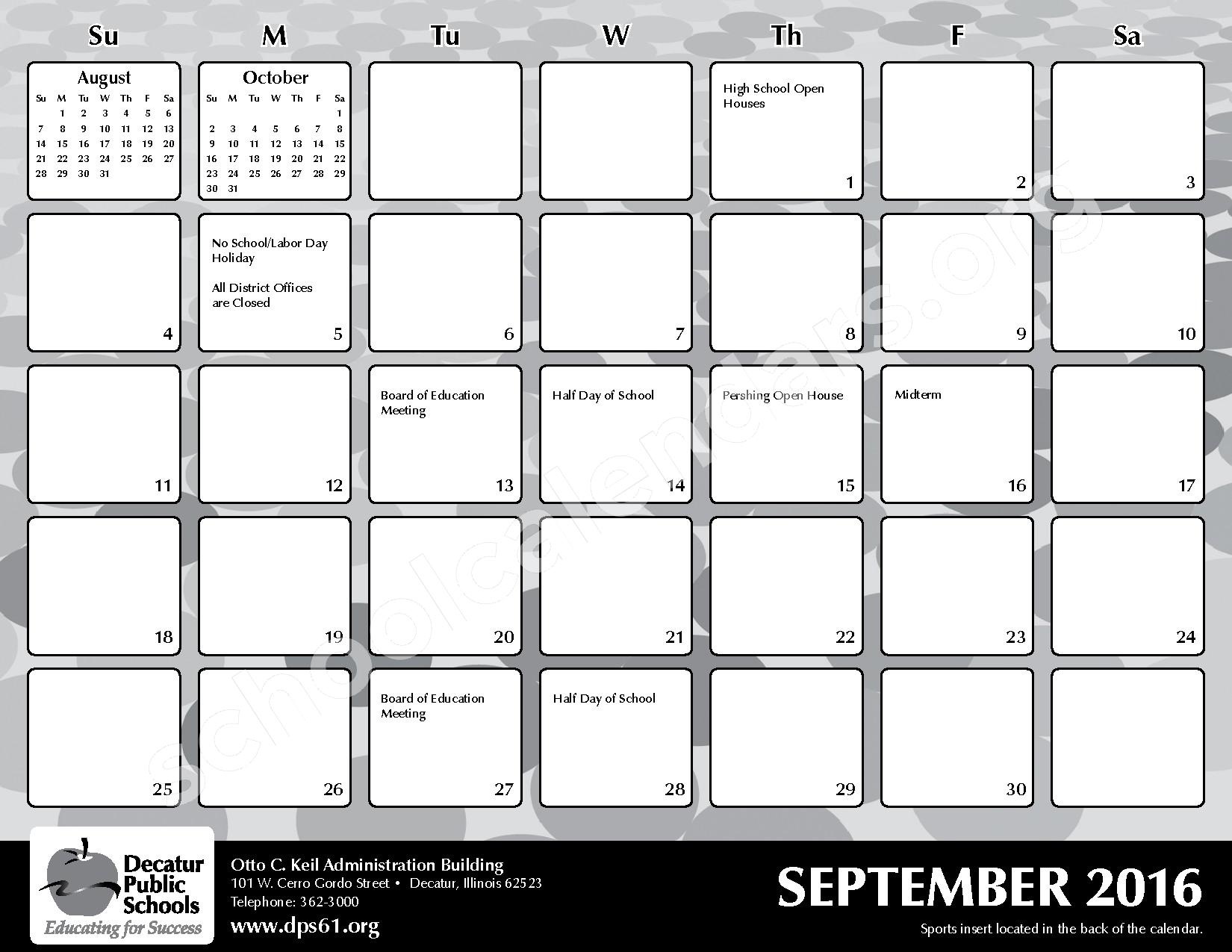 2016 - 2017 District Calendar – Michael E Baum Elementary School – page 7