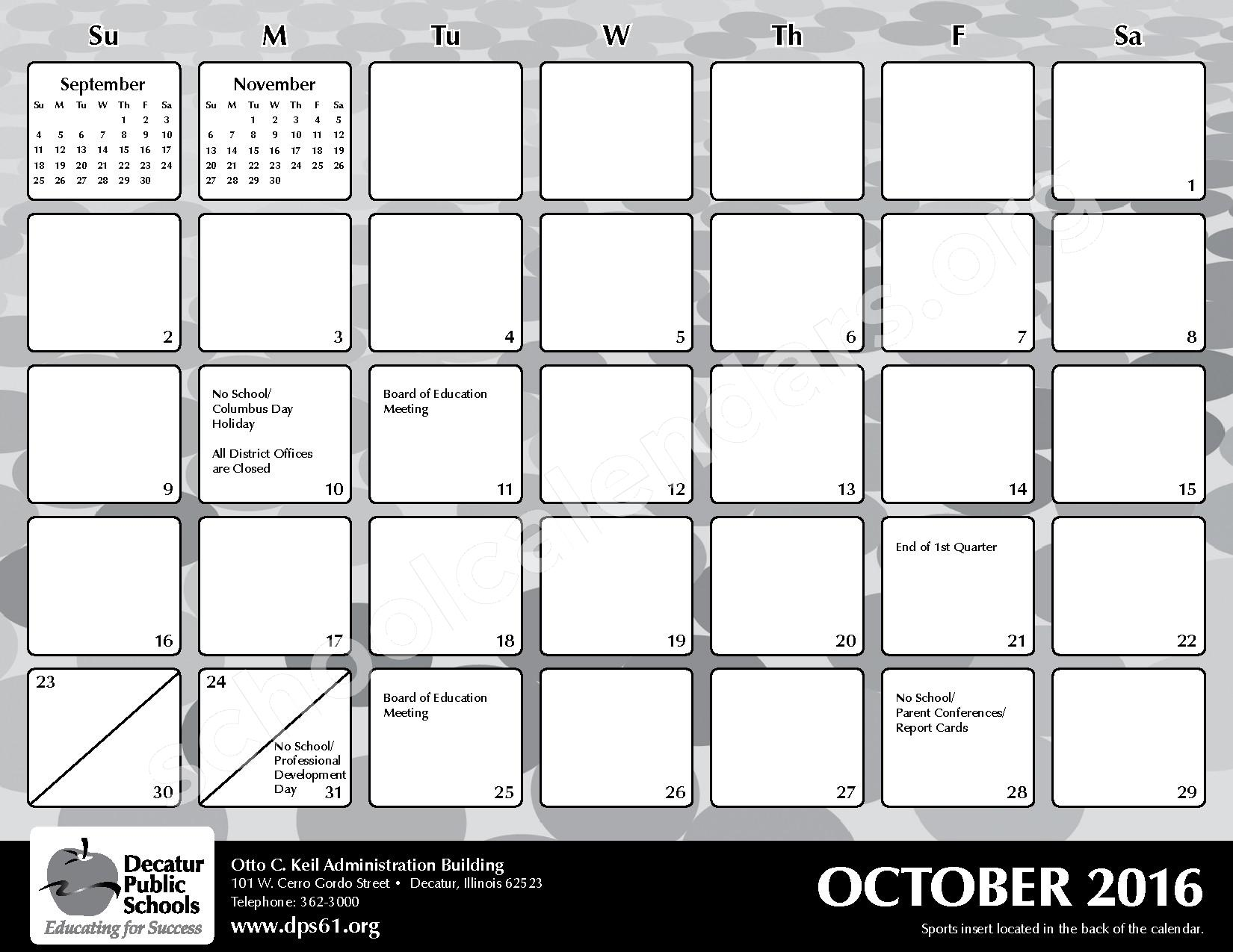 2016 - 2017 District Calendar – Michael E Baum Elementary School – page 9
