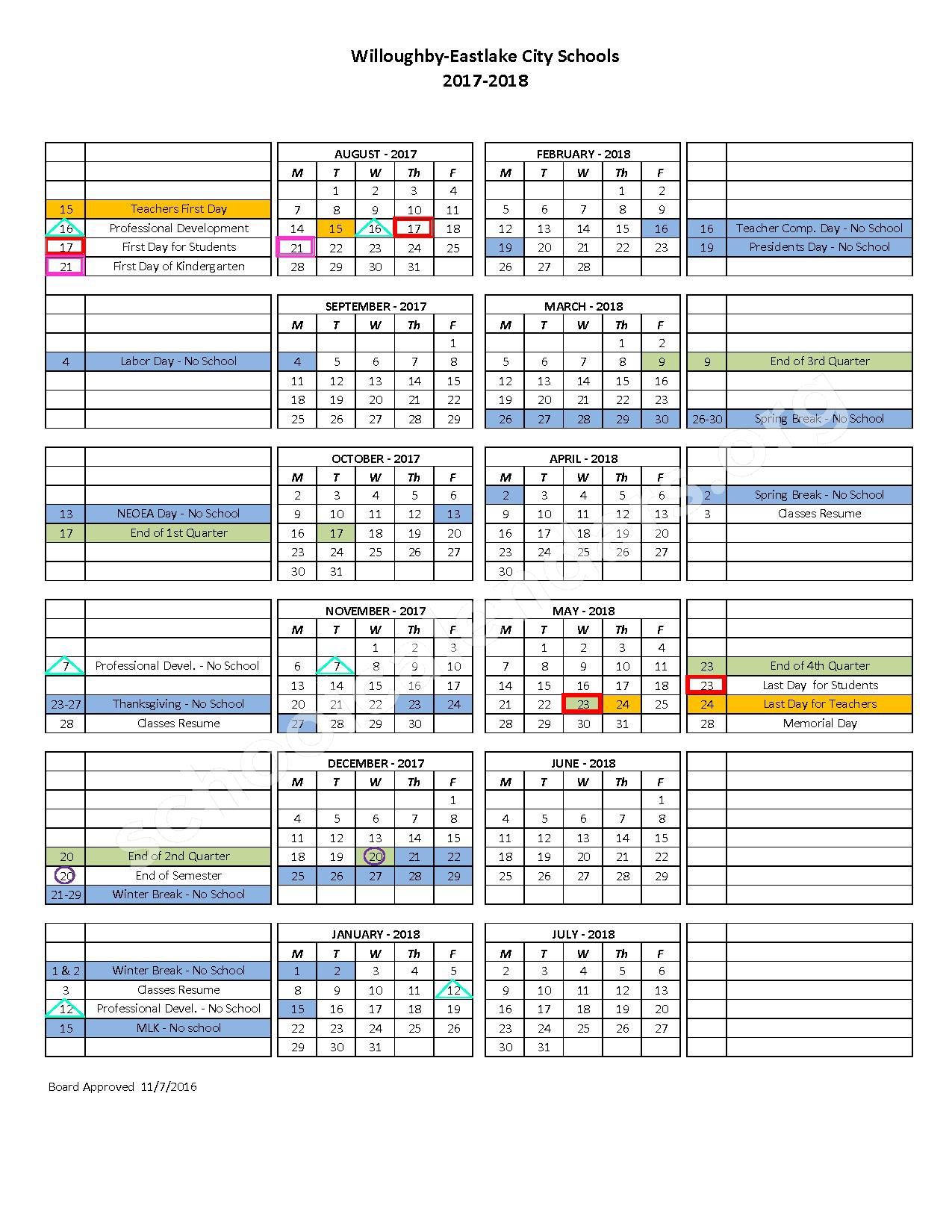 2017 - 2018 Academic Calendar – Willowick Middle School – page 1