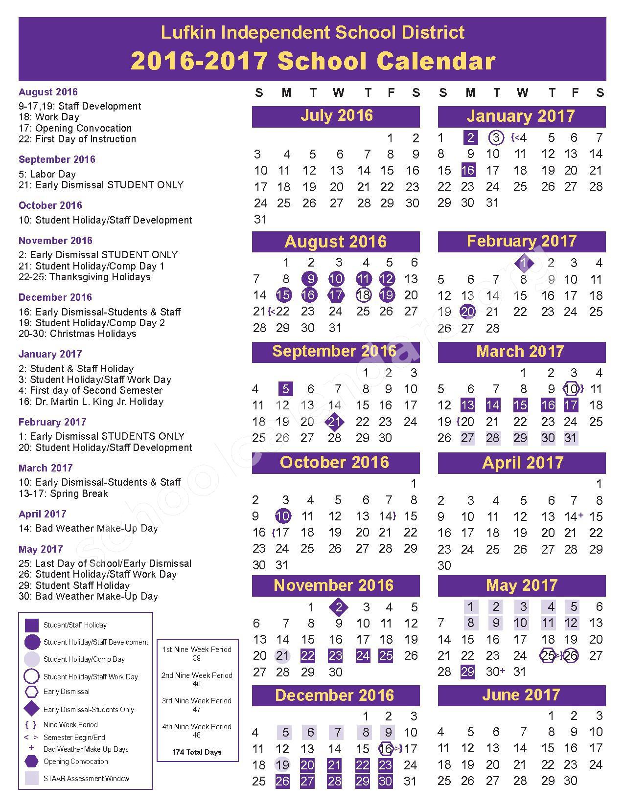 2016 - 2017 District Calendar – Alternative School – page 1