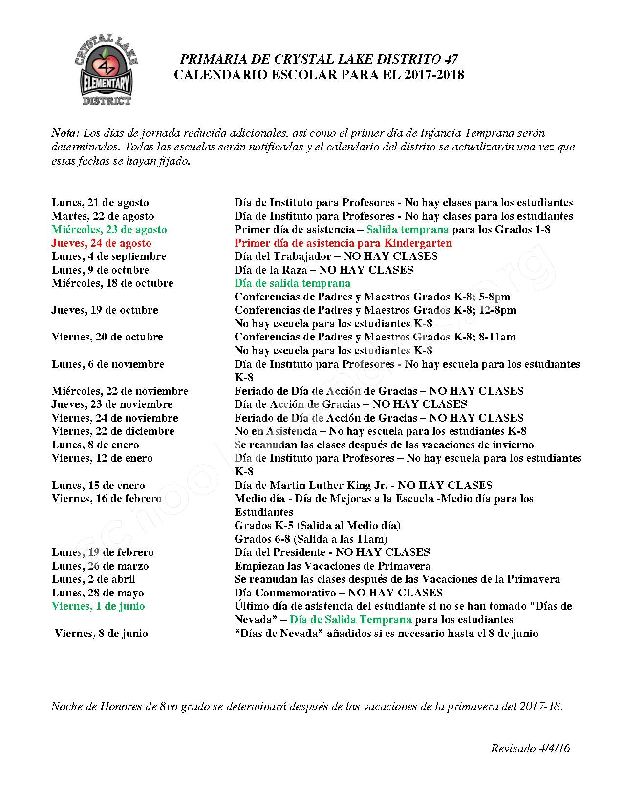 2017 - 2018 District Calendar Espanol – Crystal Lake Community Consolidated School District 47 – page 1