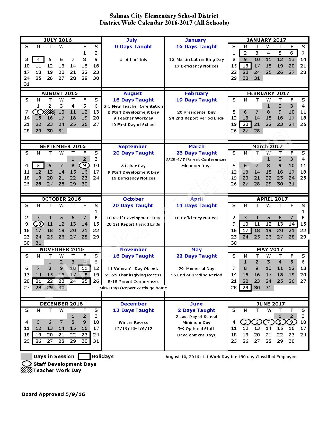 2016 - 2017 School Calendar – Salinas City Elementary School District – page 1