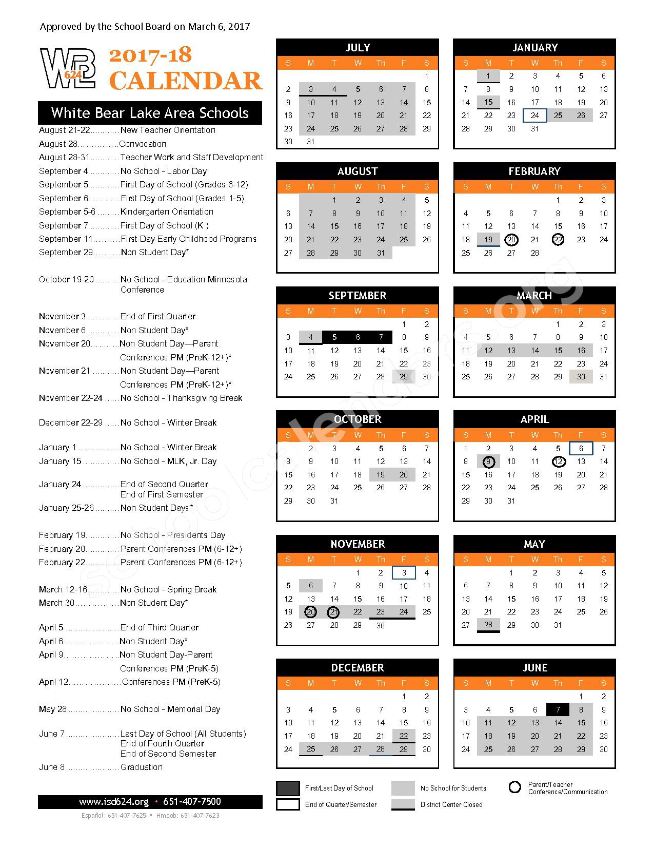 2017 - 2018 District Calendar – White Bear Lake School District – page 1