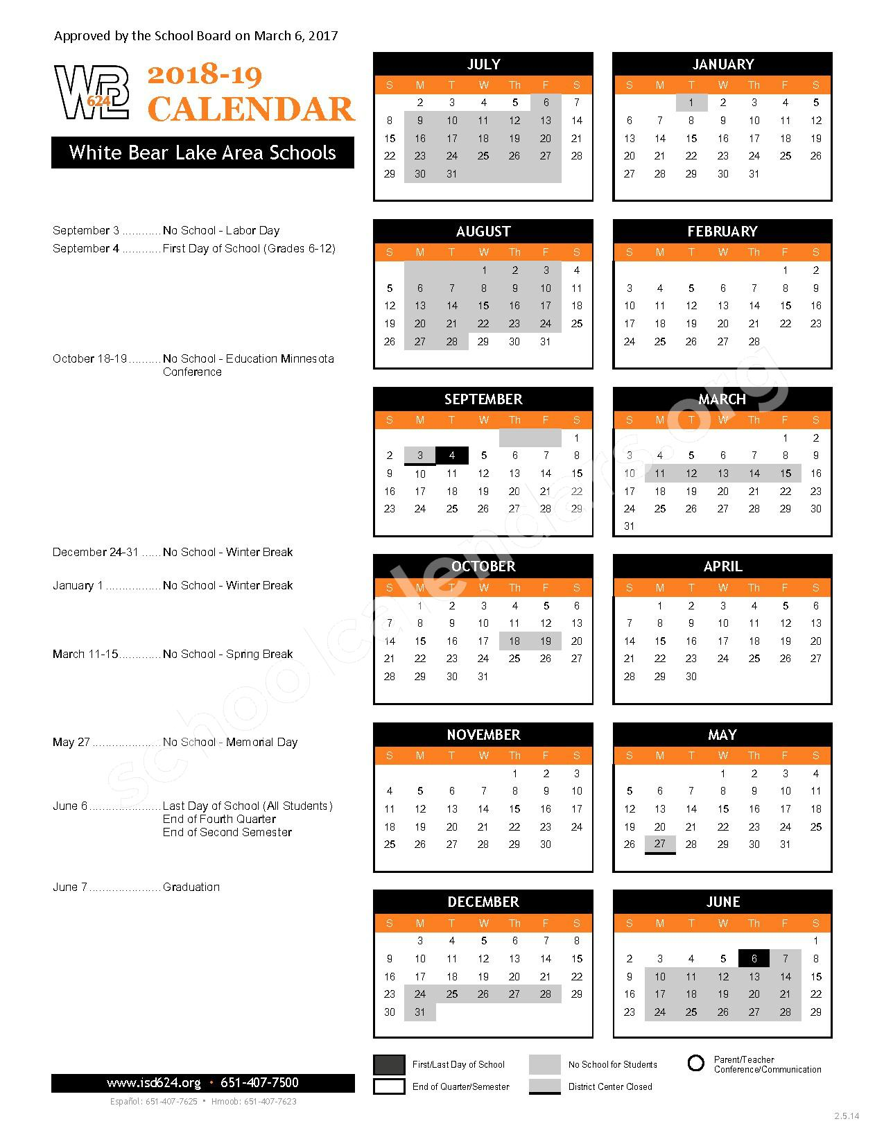 2018 - 2019 District Calendar – Sunrise Park Area Learning Center – page 1