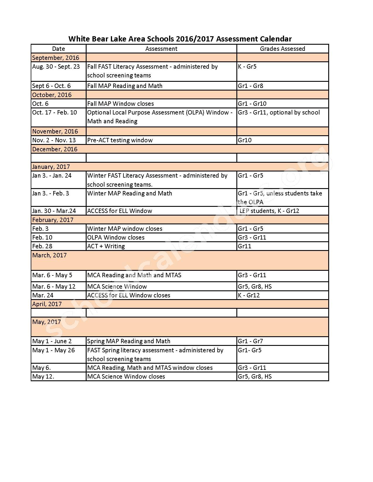 2016 - 2017 District Assessment Calendar – White Bear Lake School District – page 1