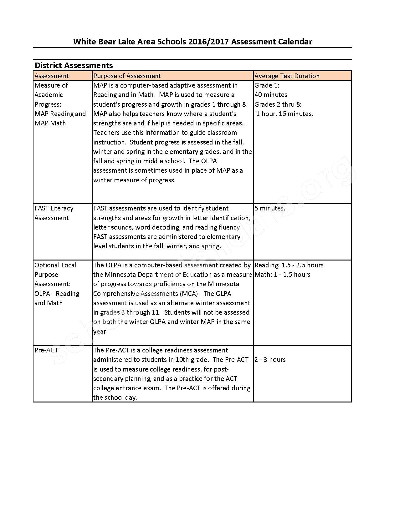 2016 - 2017 District Assessment Calendar – White Bear Lake School District – page 2