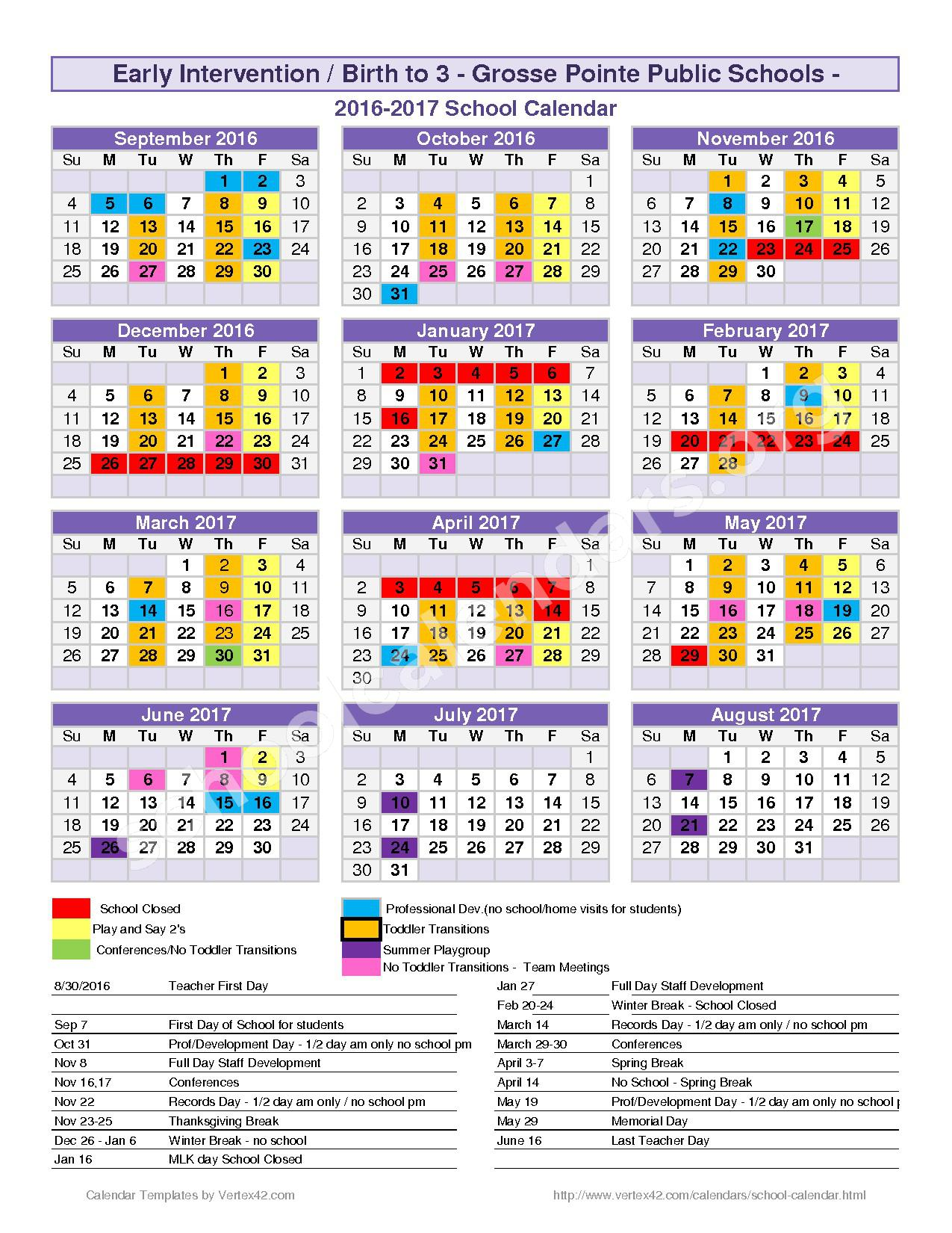 2016 - 2017 District Calendar – Lewis Maire Elementary School – page 1