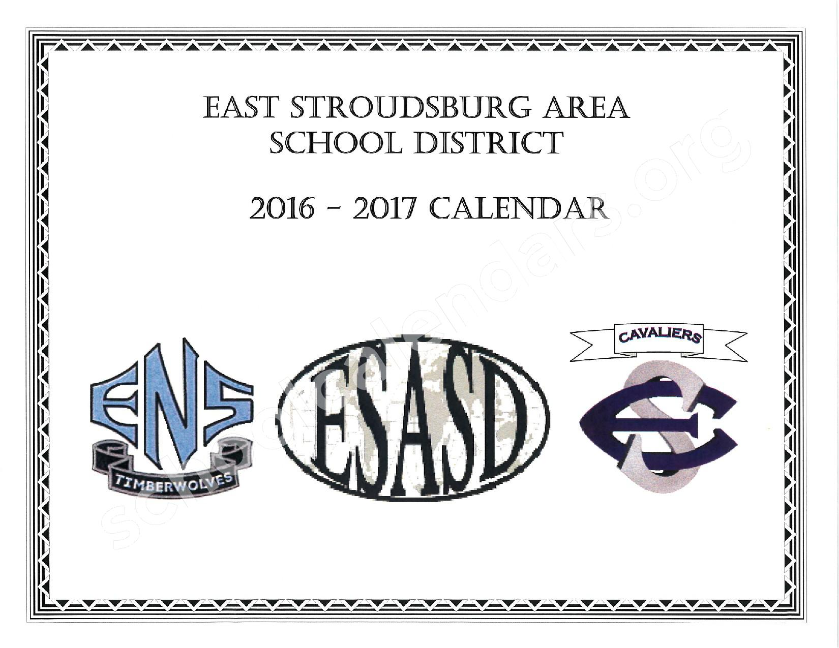 2016 - 2017 School Calendar – East Stroudsburg Senior High School North – page 1