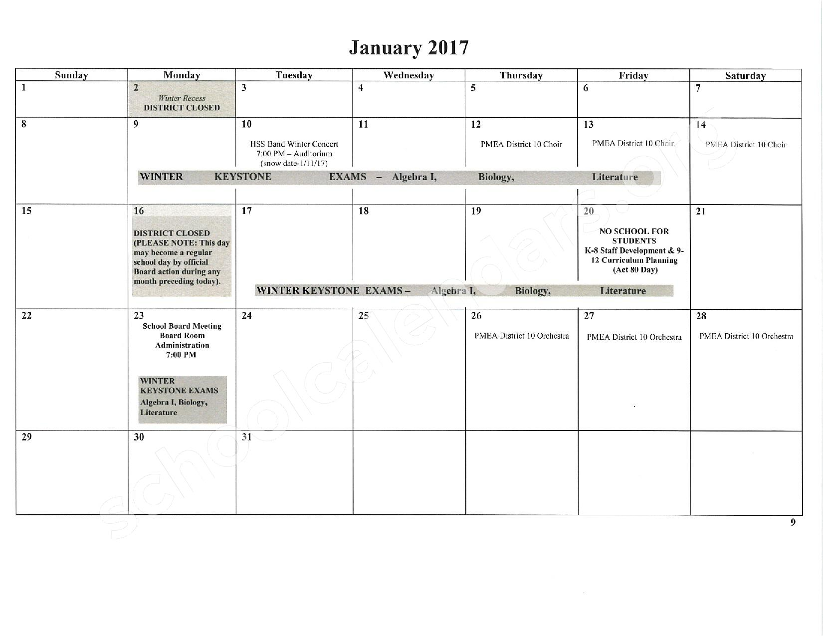 2016 - 2017 School Calendar – East Stroudsburg Senior High School North – page 10