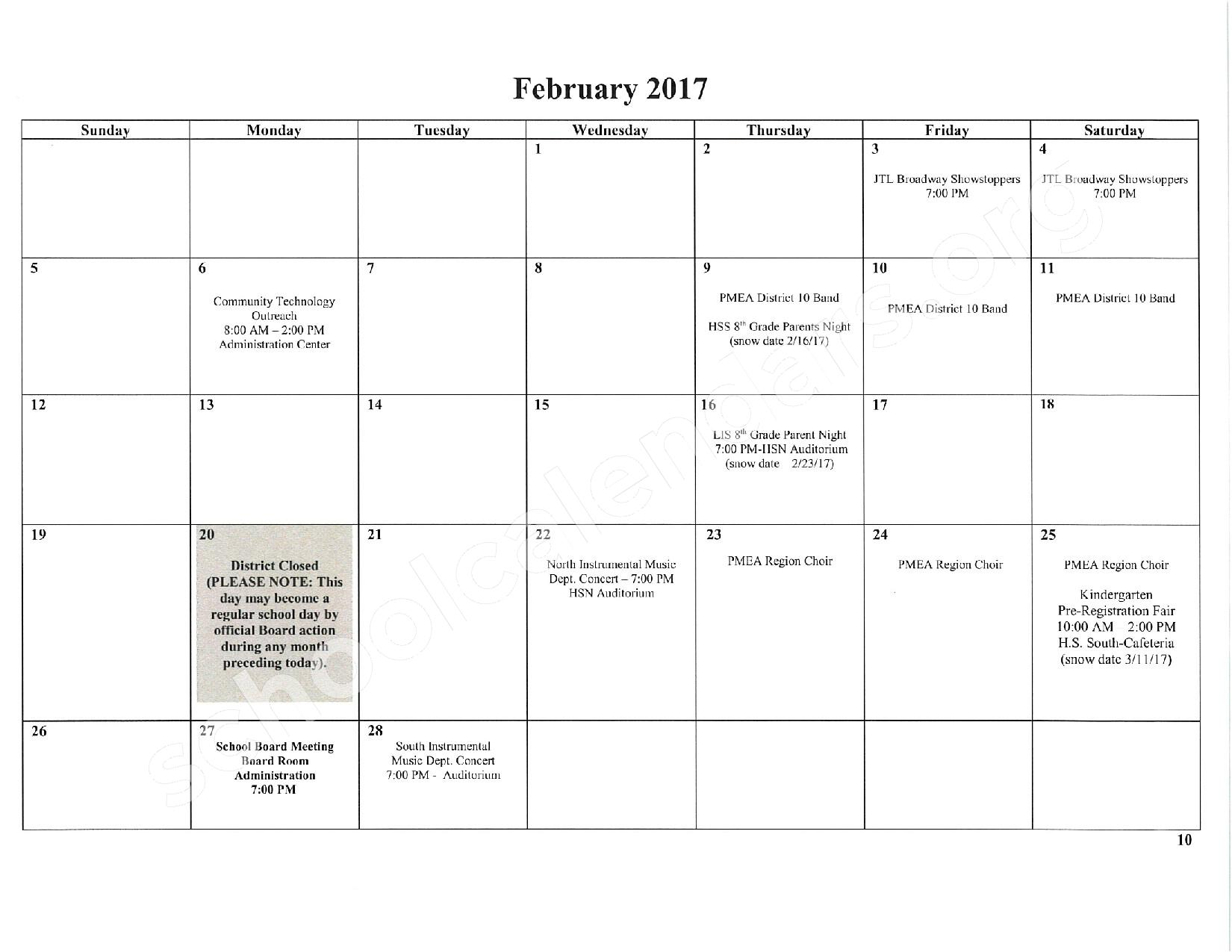 2016 - 2017 School Calendar – East Stroudsburg Senior High School North – page 11