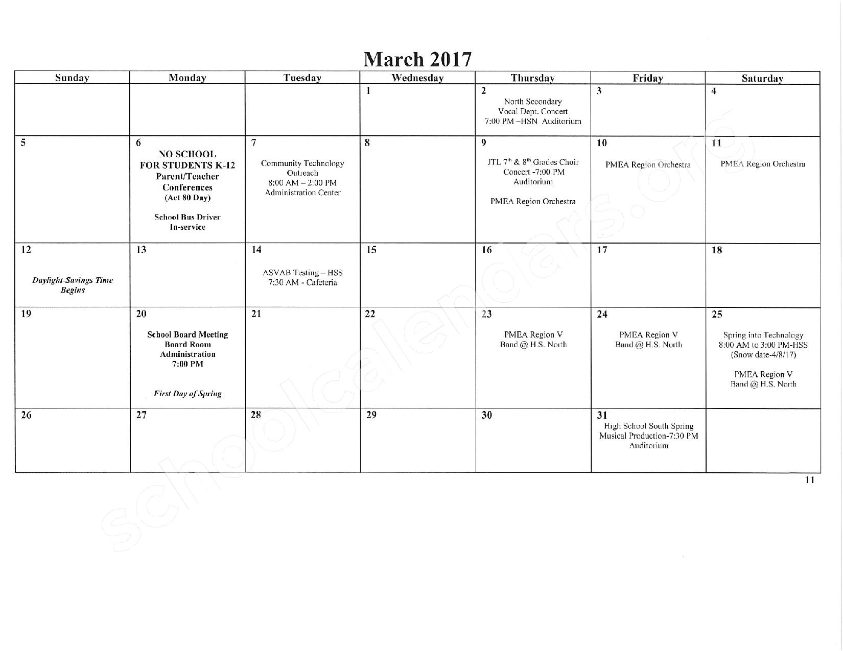 2016 - 2017 School Calendar – East Stroudsburg Senior High School North – page 12