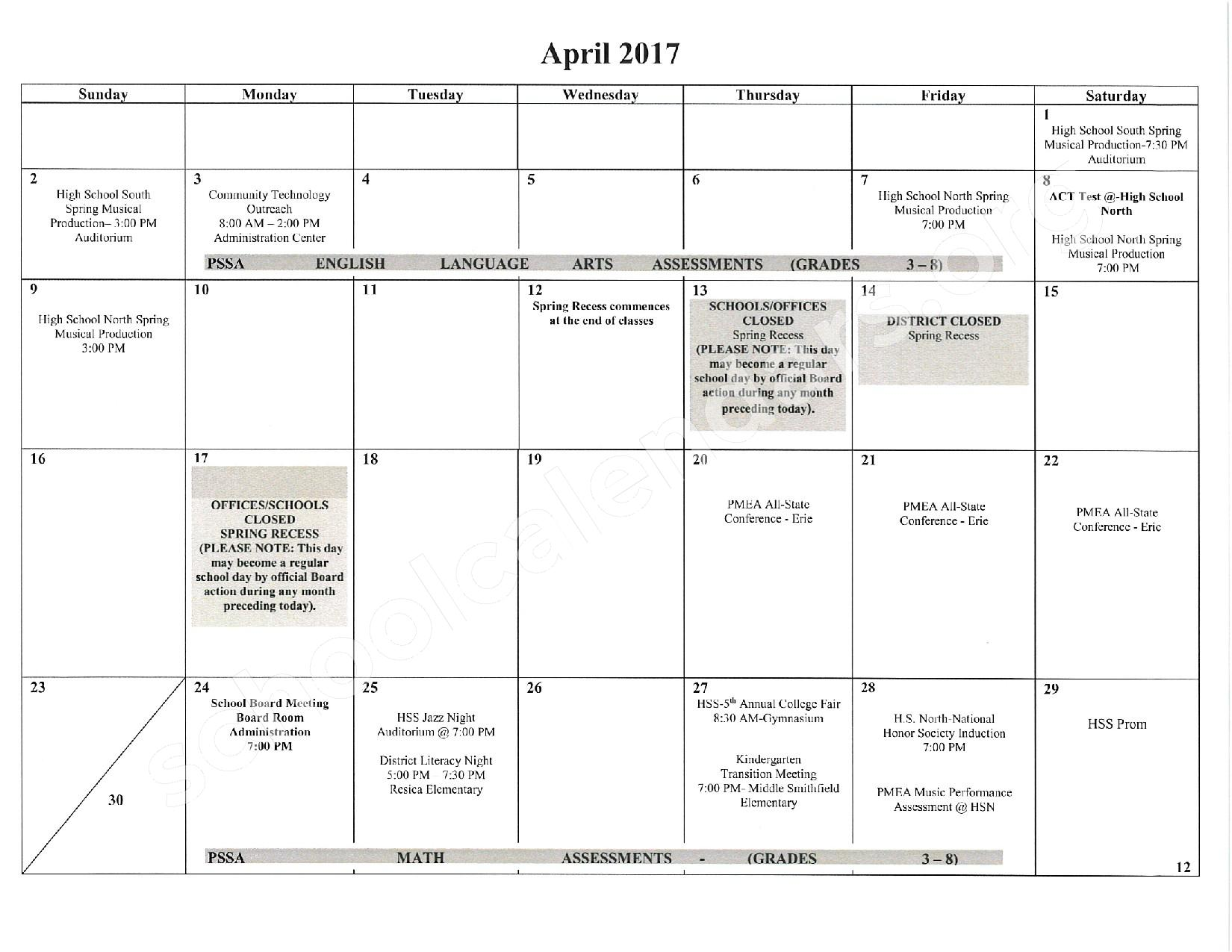 2016 - 2017 School Calendar – East Stroudsburg Senior High School North – page 13