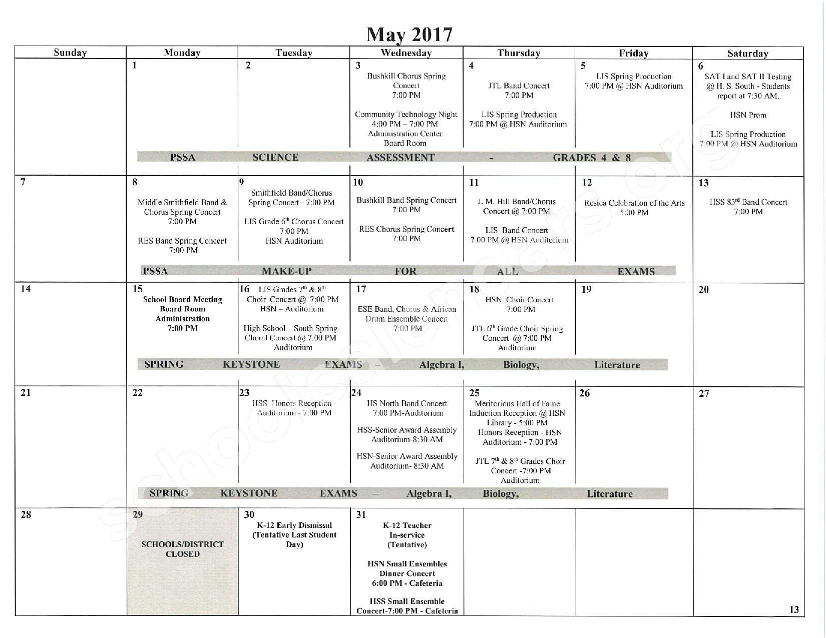 2016 - 2017 School Calendar – East Stroudsburg Senior High School North – page 14