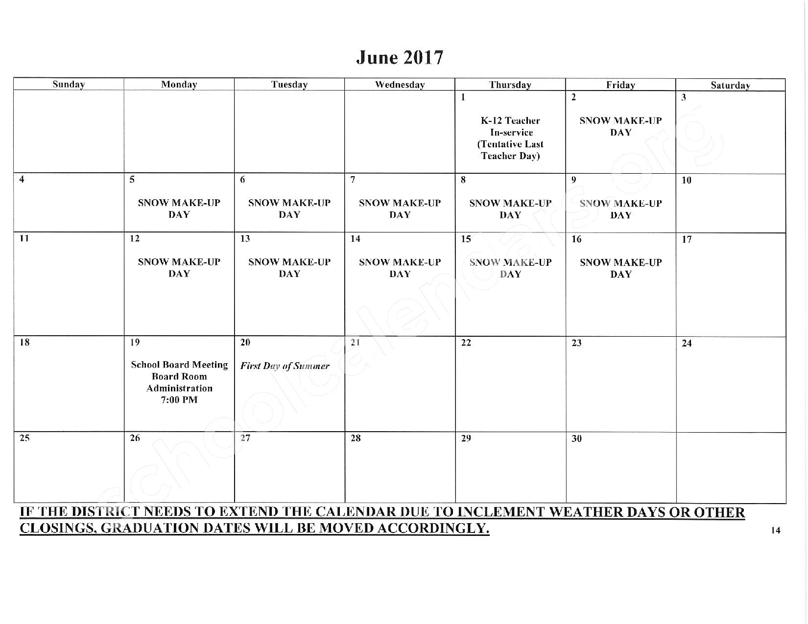 2016 - 2017 School Calendar – East Stroudsburg Senior High School North – page 15
