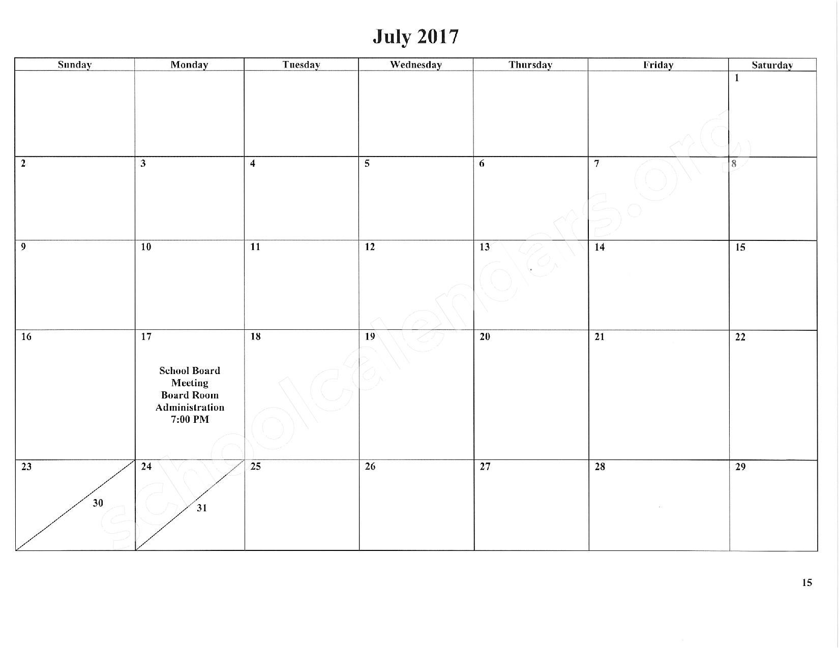 2016 - 2017 School Calendar – East Stroudsburg Senior High School North – page 16