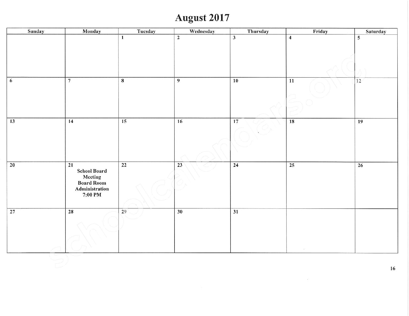 2016 - 2017 School Calendar – East Stroudsburg Senior High School North – page 17