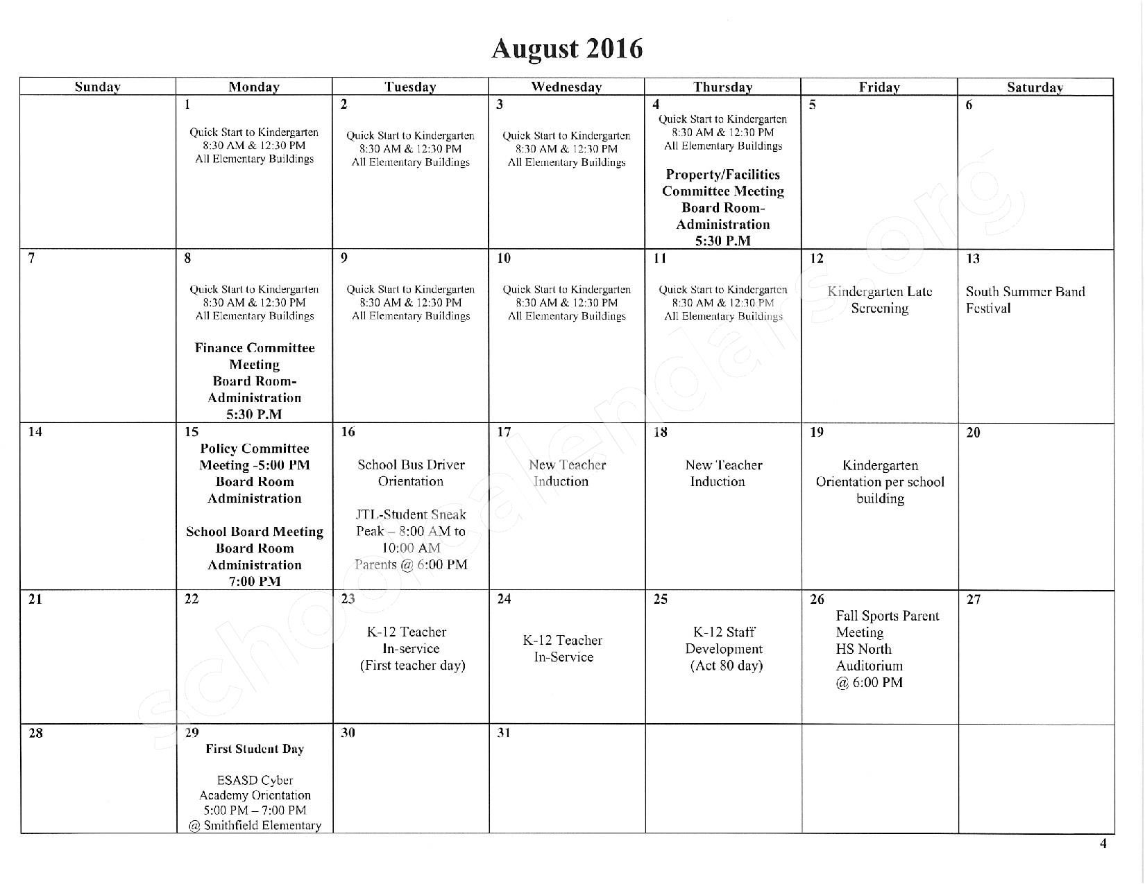 2016 - 2017 School Calendar – East Stroudsburg Senior High School North – page 5