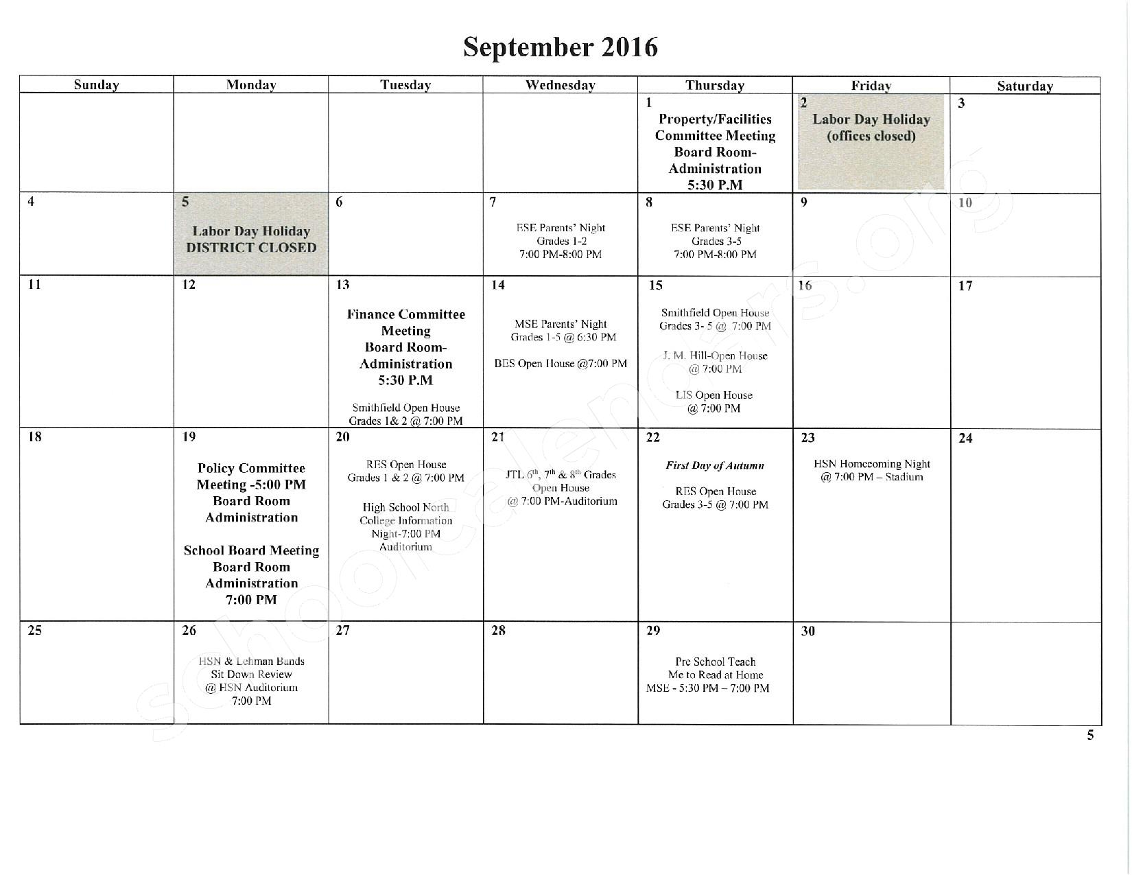 2016 - 2017 School Calendar – East Stroudsburg Senior High School North – page 6