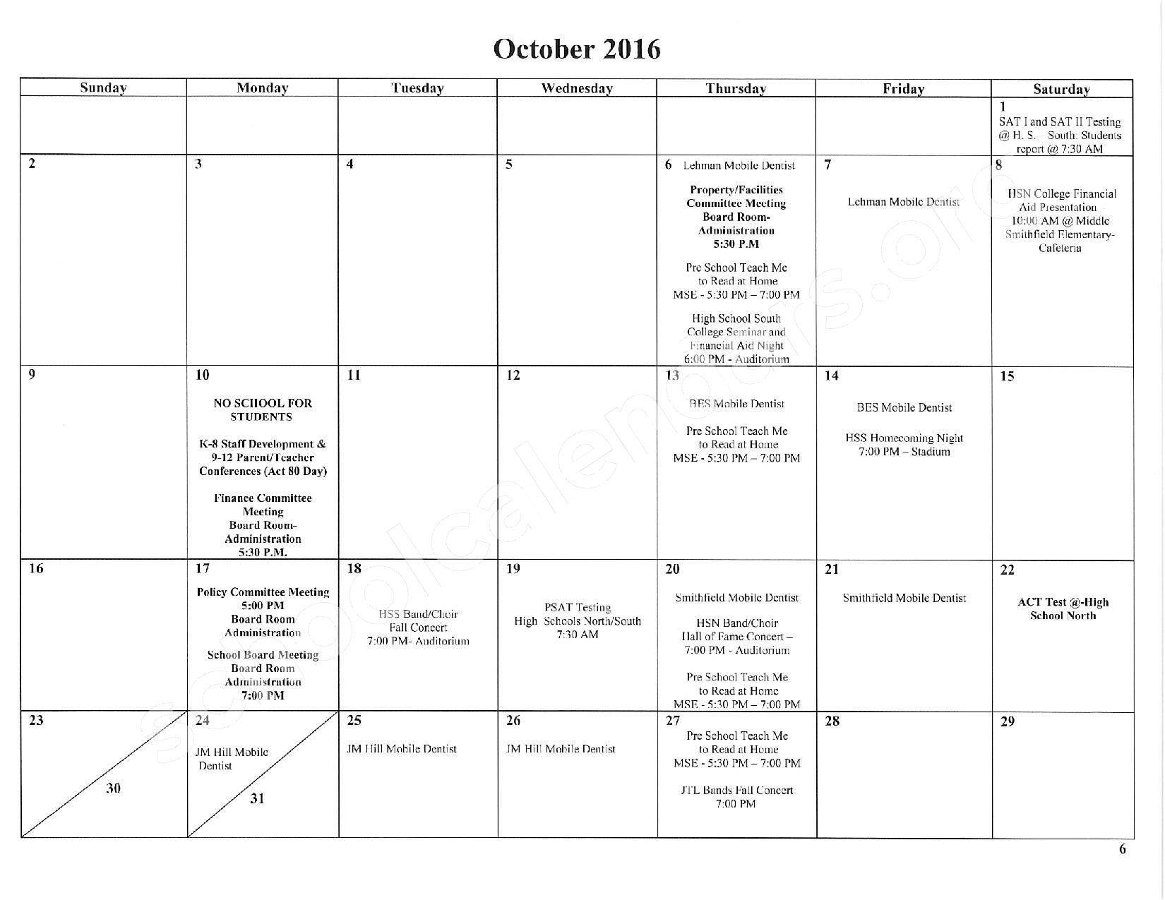 2016 - 2017 School Calendar – East Stroudsburg Senior High School North – page 7