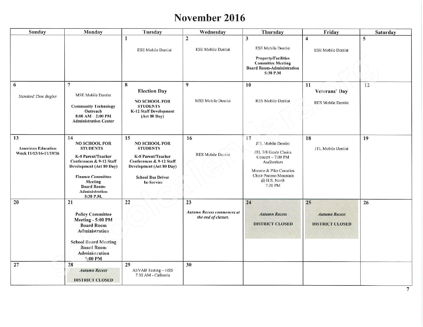 2016 - 2017 School Calendar – East Stroudsburg Senior High School North – page 8