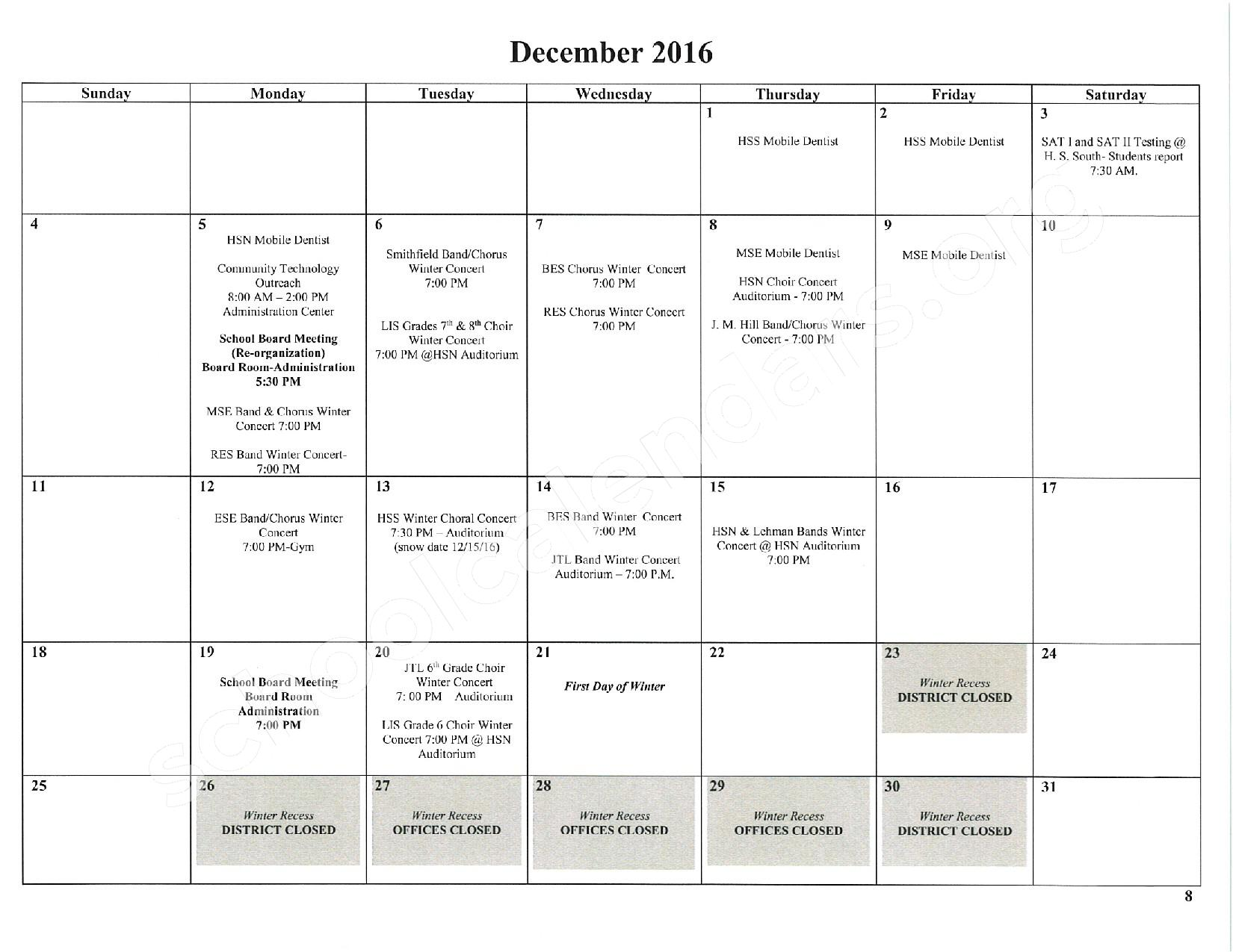 2016 - 2017 School Calendar – East Stroudsburg Senior High School North – page 9
