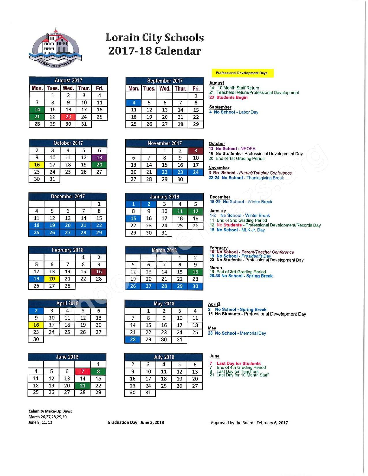 2017 - 2018 District Calendar – Lorain City Schools – page 1