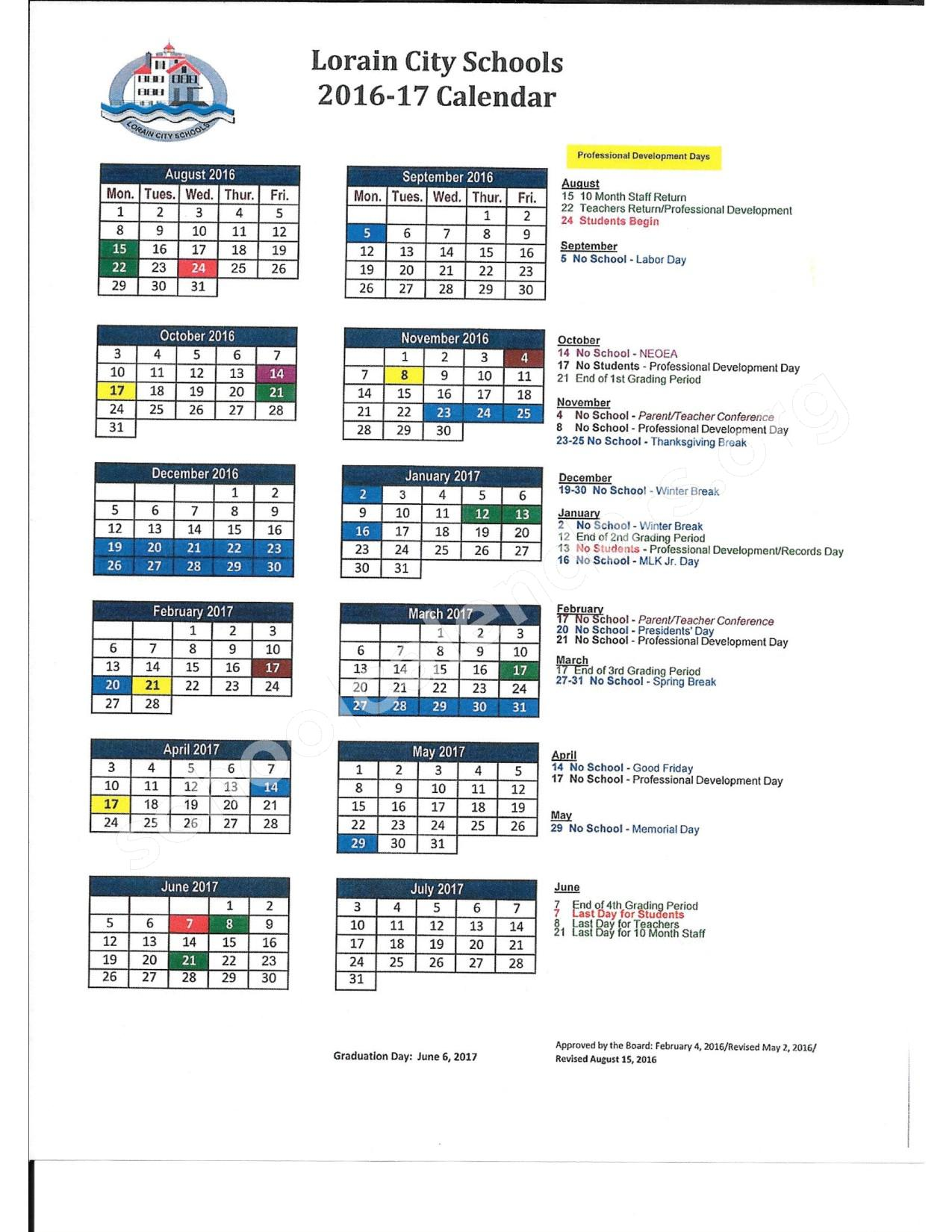 2016 - 2017  District Calendar – Lorain City Schools – page 1
