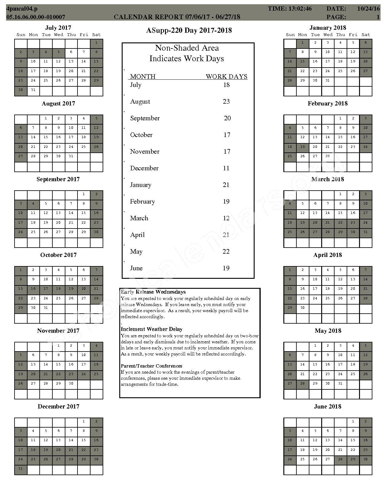 2017 - 2018 School Calendar – Center Grove Community School Corporation – page 5