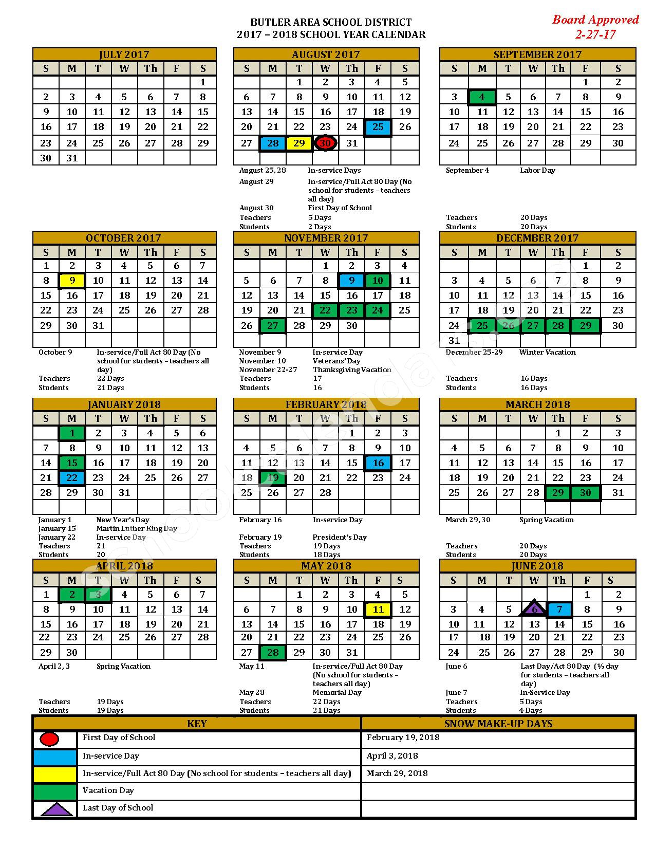 2017 - 2018 District Calendar – Butler Area School District – page 1