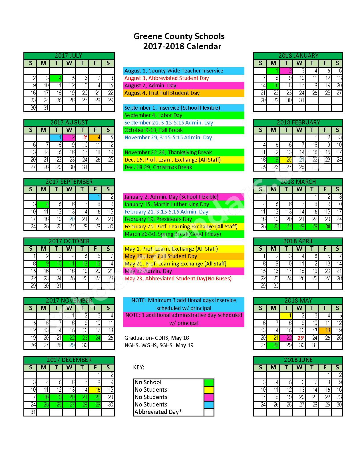 2017 - 2018 Academic Calendar – Small Miracles Holston U M Home for Children – page 1
