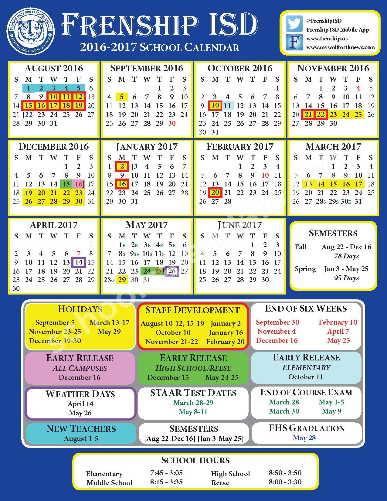 2016 - 2017 District Calendar – Frenship Independent School District – page 1