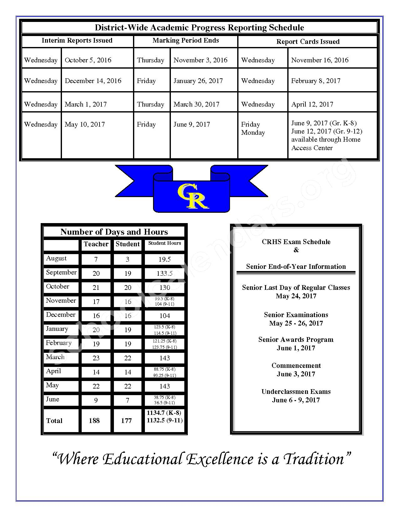 2016 - 2017 School Calendar – Caesar Rodney School District – page 2