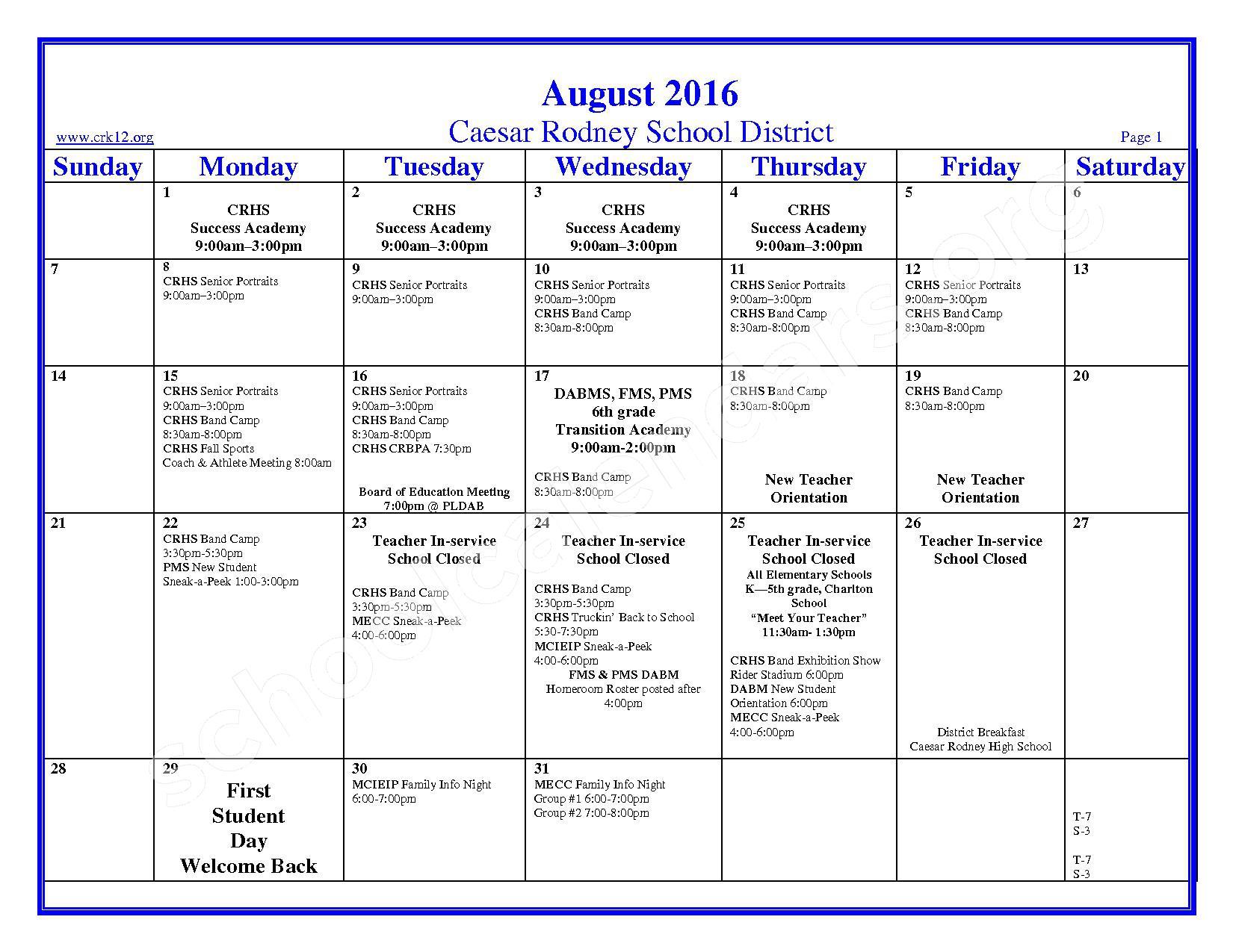 2016 - 2017 School Calendar – Brown (W. Reily) Elementary School – page 1