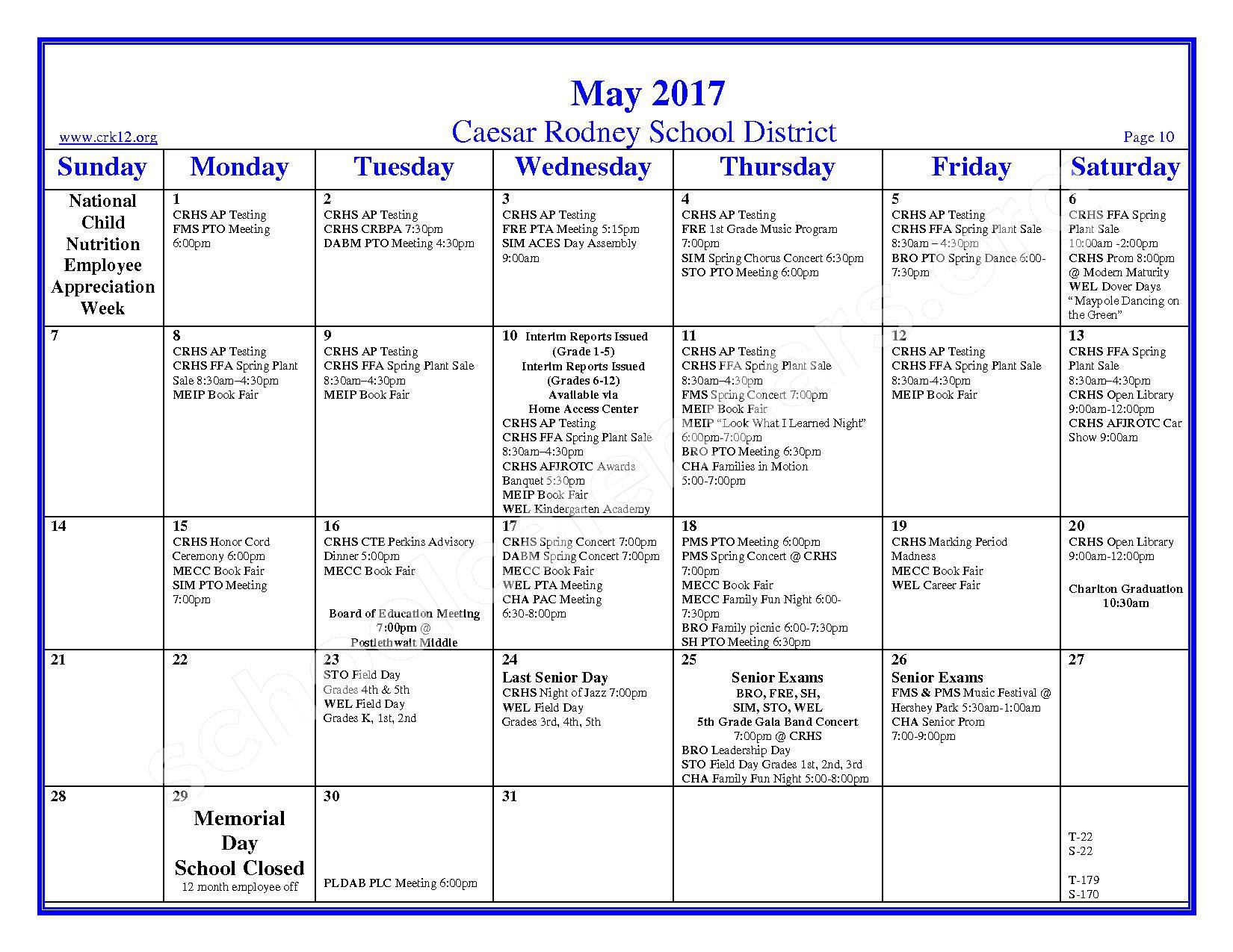 2016 - 2017 School Calendar – Brown (W. Reily) Elementary School – page 10
