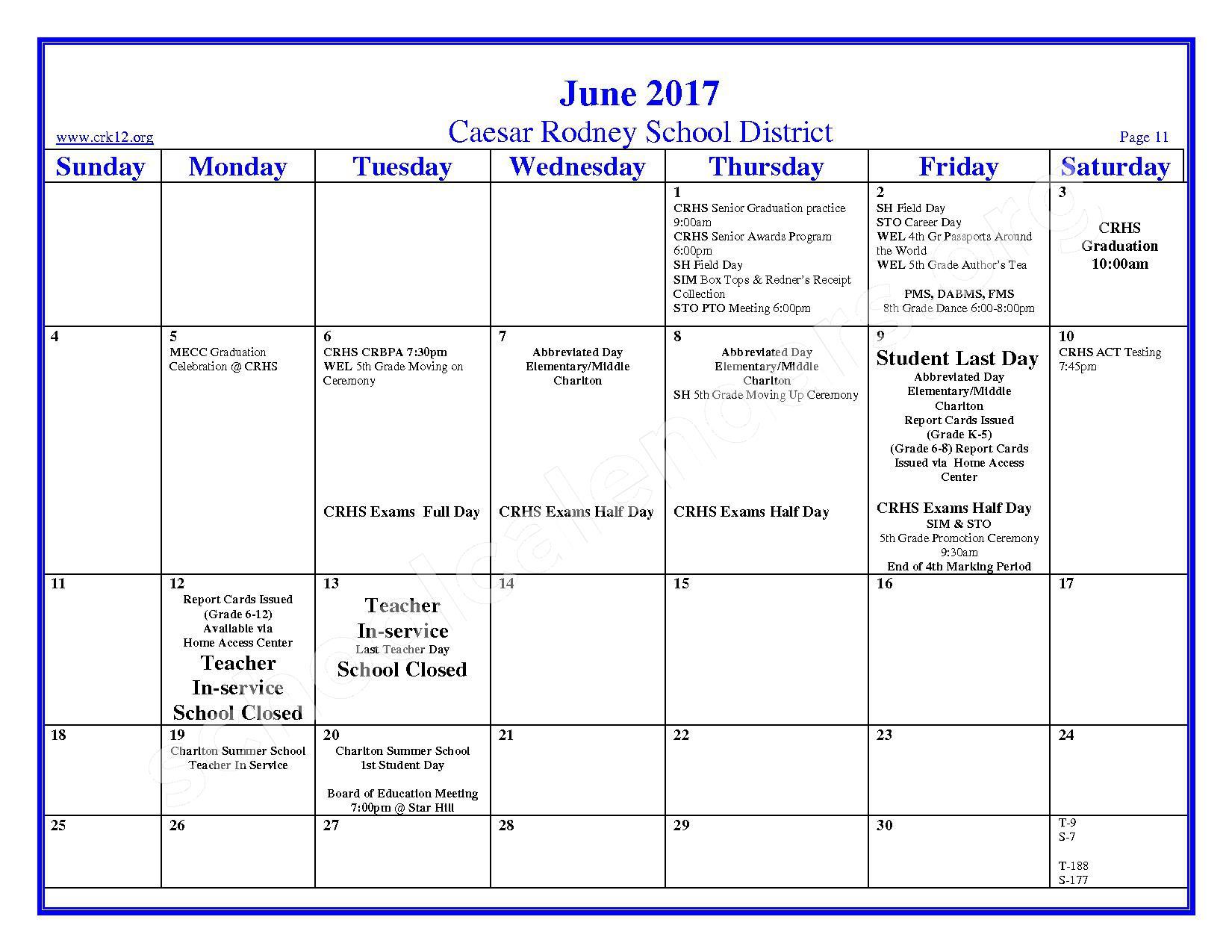 2016 - 2017 School Calendar – Brown (W. Reily) Elementary School – page 11